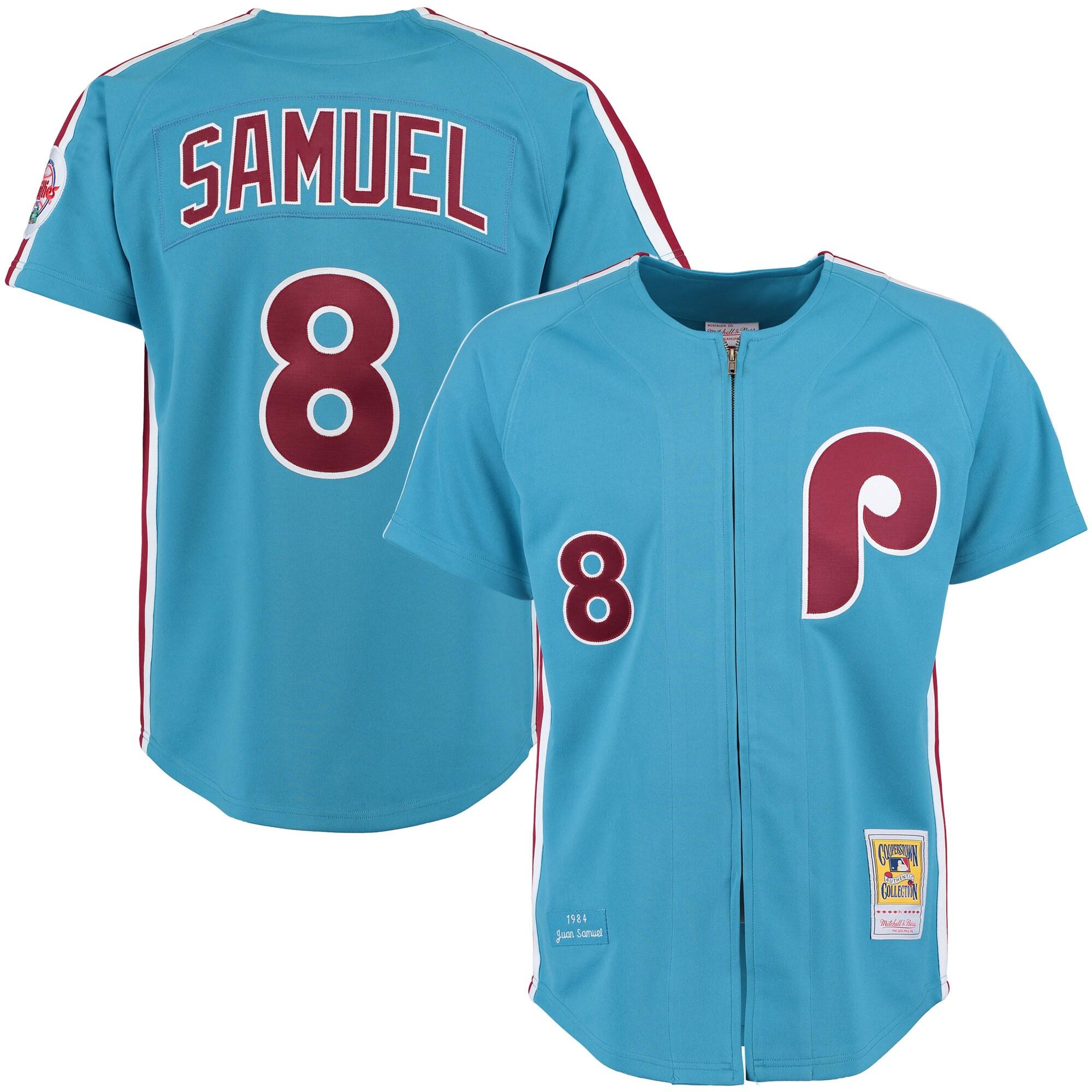Juan Samuel 1983 Philadelphia Phillies Mitchell & Ness Authentic Throwback Jersey - Light Blue