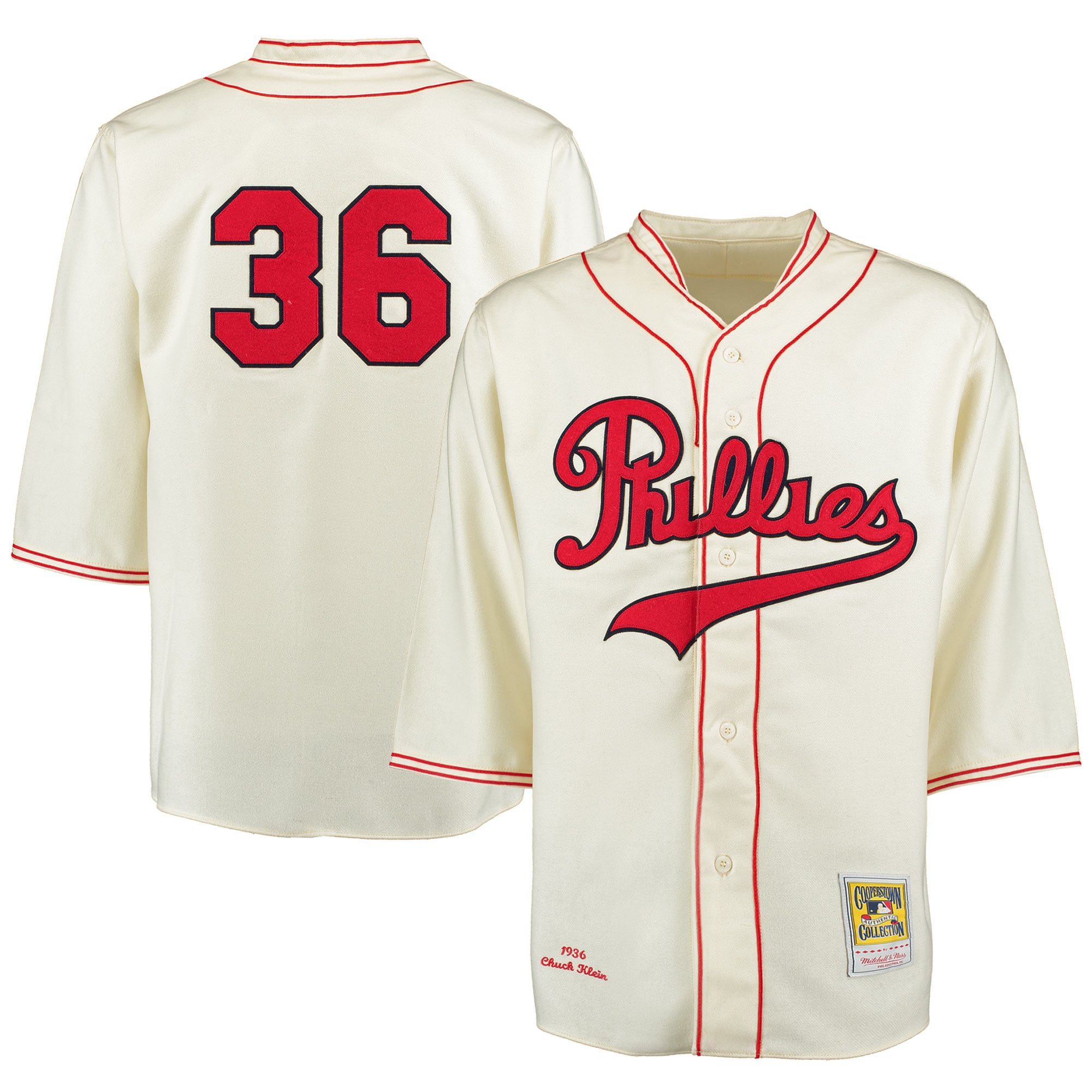 Chuck Klein 1936 Philadelphia Phillies Mitchell & Ness Authentic Throwback Jersey - Cream