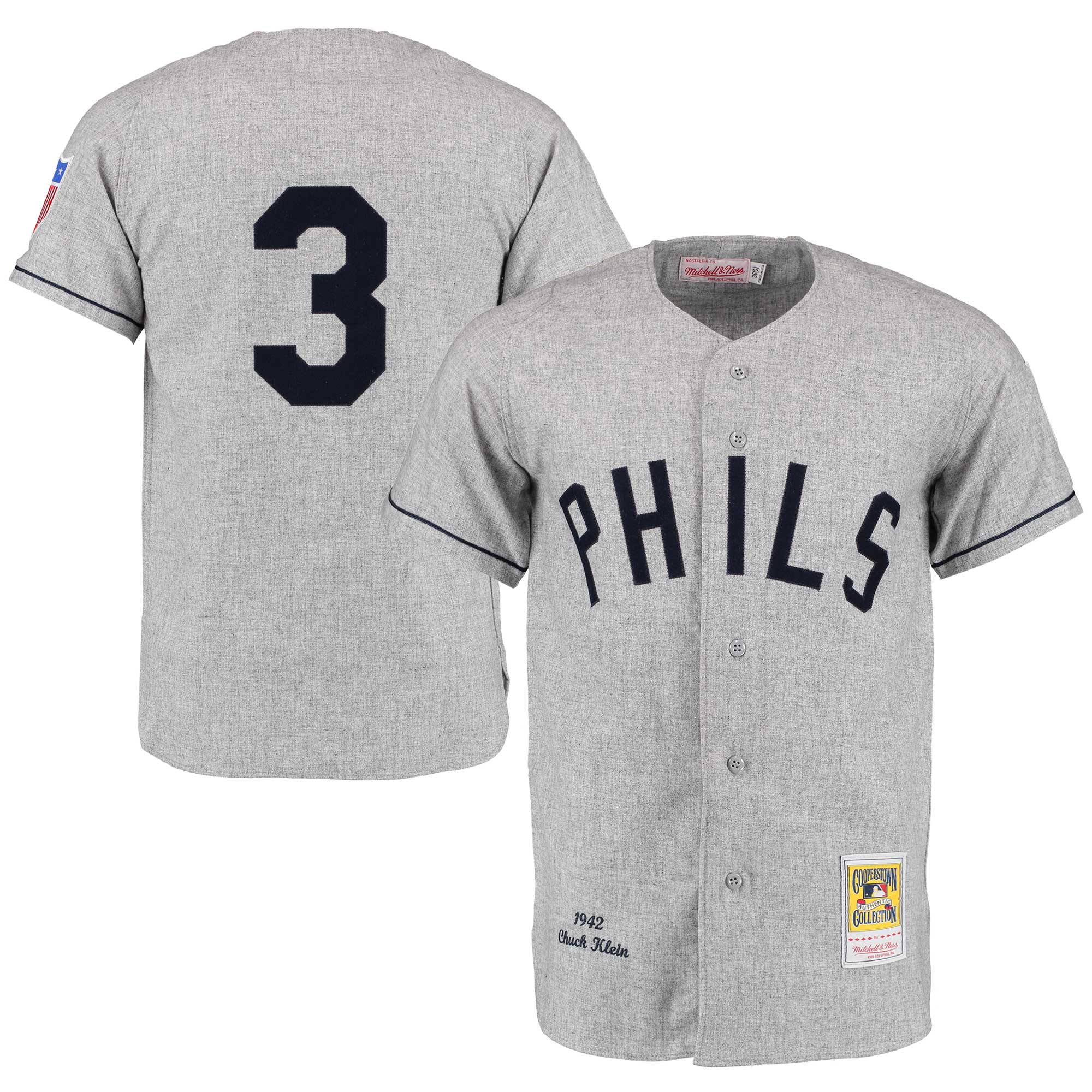 Chuck Klein 1942 Philadelphia Phillies Mitchell & Ness Authentic Throwback Jersey - Gray