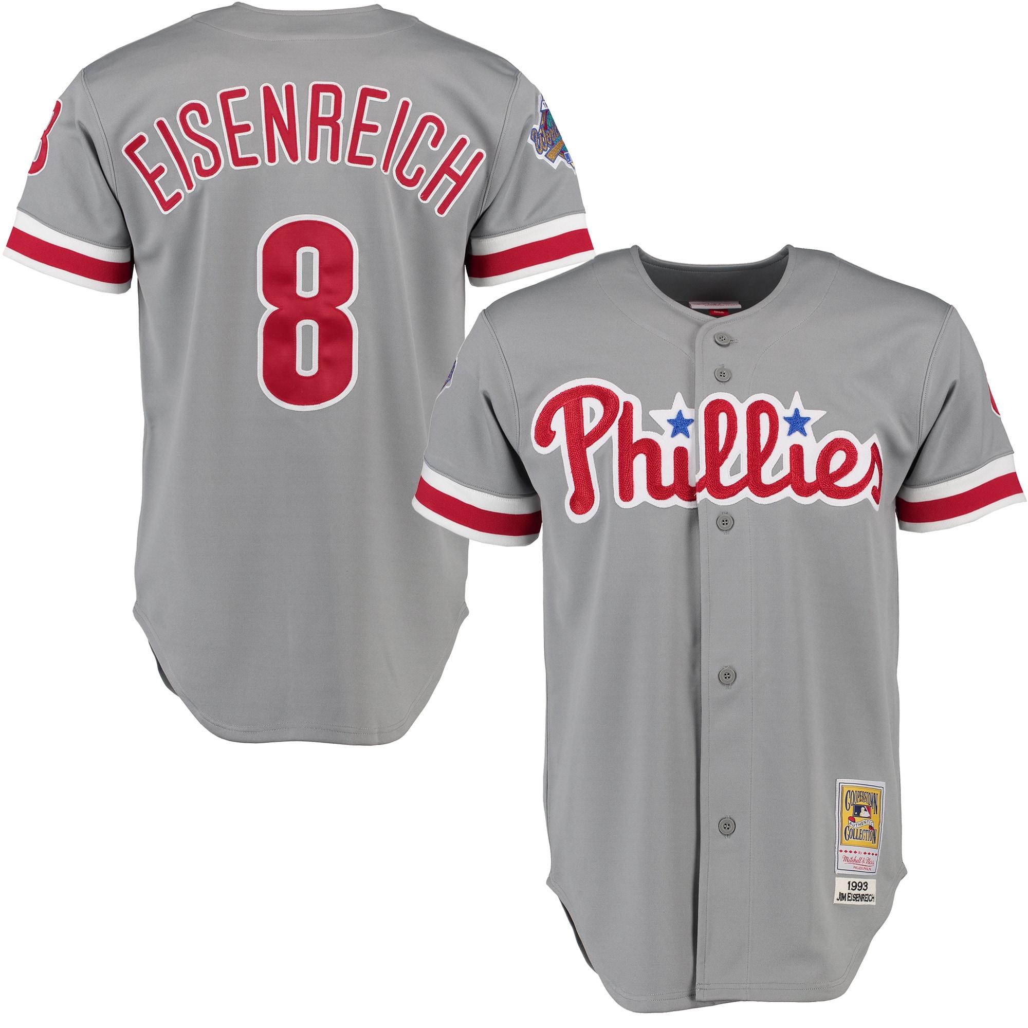 Jim Eisenreich 1993 Philadelphia Phillies Mitchell & Ness Road Authentic Throwback Jersey - Gray