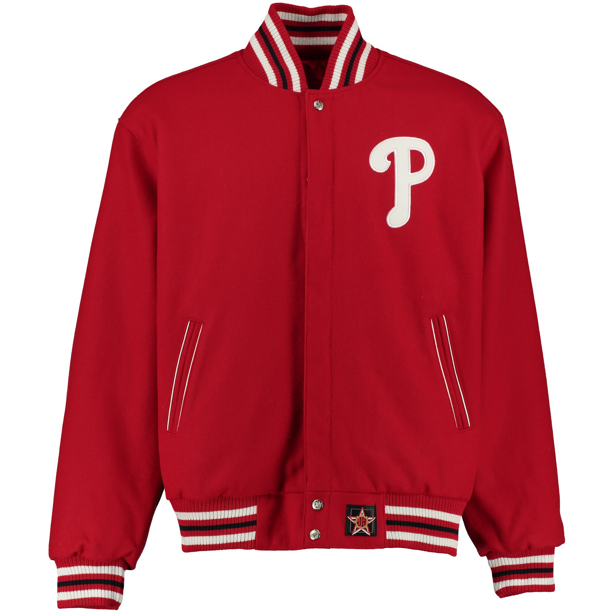 Philadelphia Phillies JH Design Wool-Nylon Reversible Jacket - Red