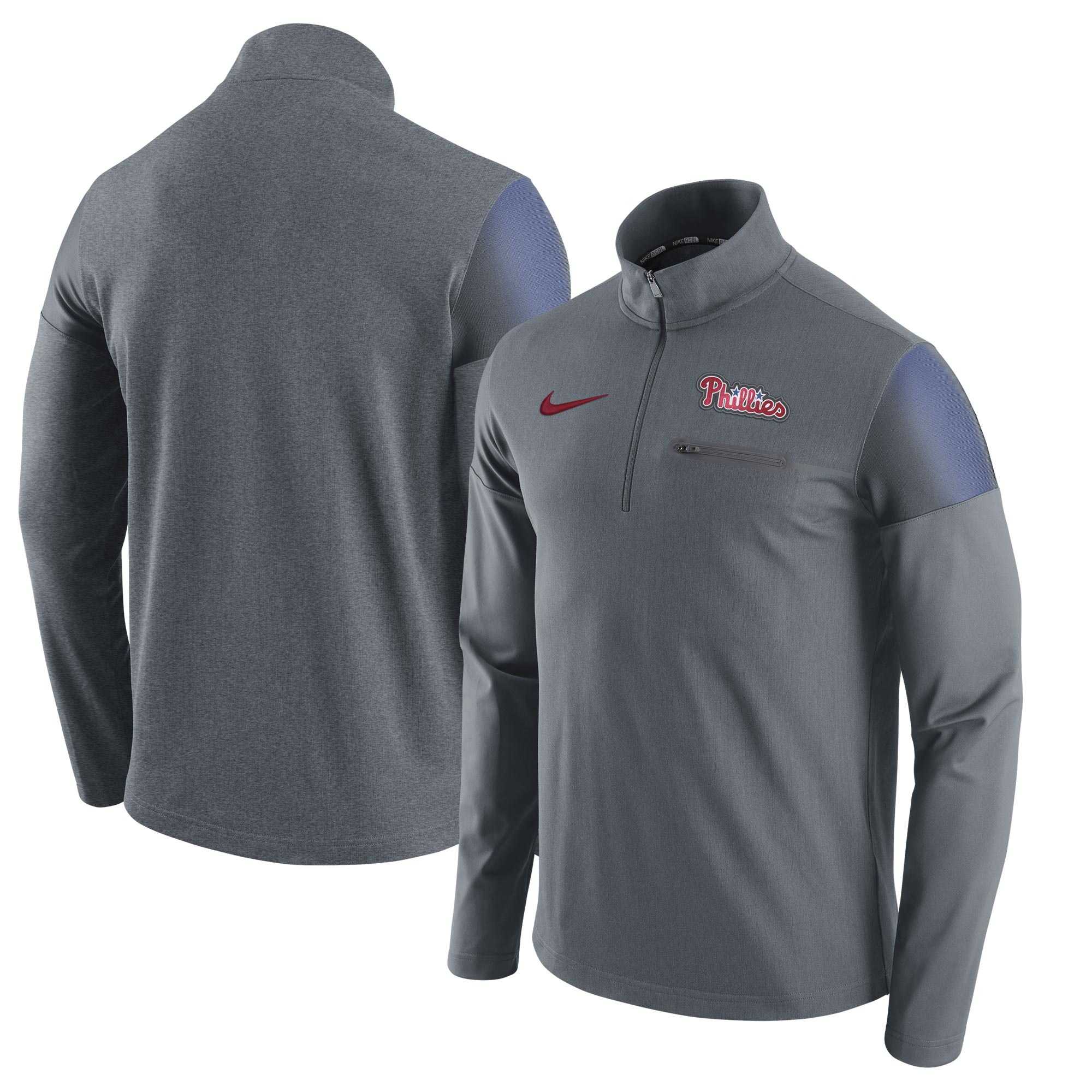 Philadelphia Phillies Nike Elite Half-Zip Pullover Jacket - Gray
