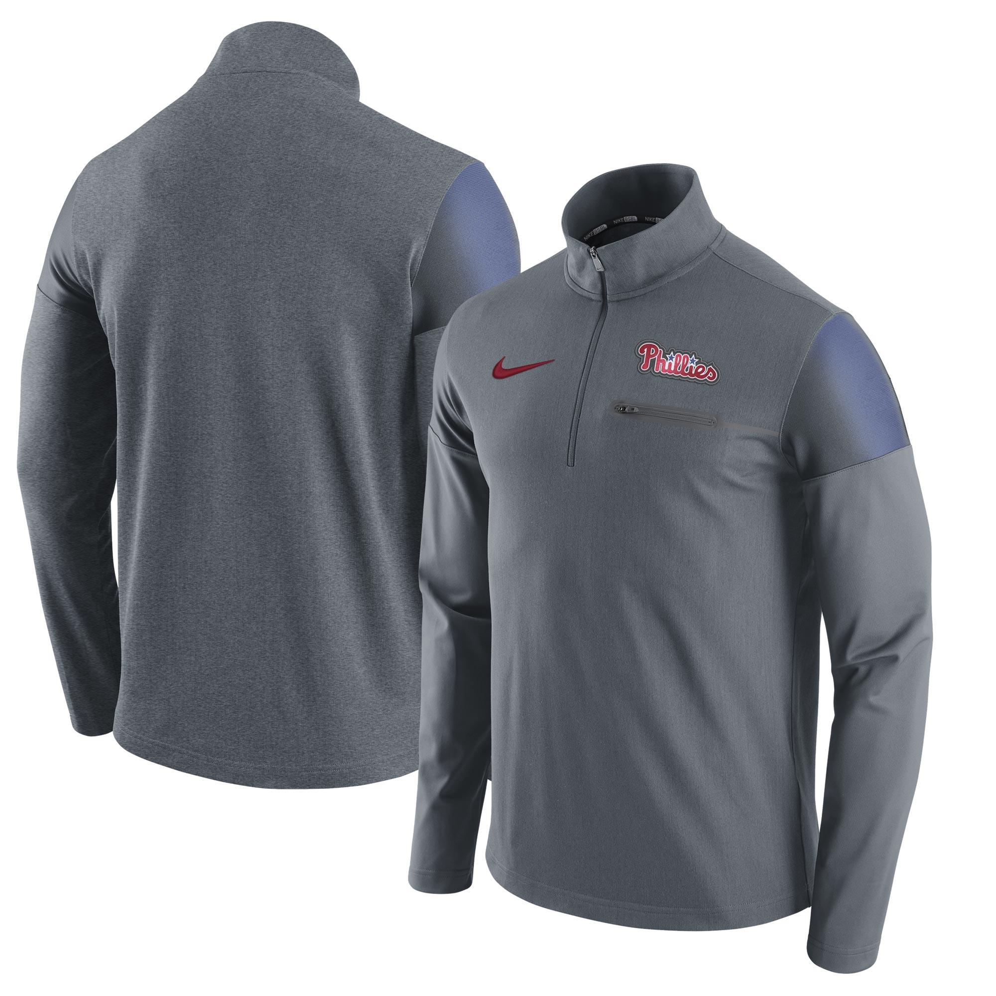 Philadelphia Phillies Nike Elite Half-Zip Pullover Jacket - Gray