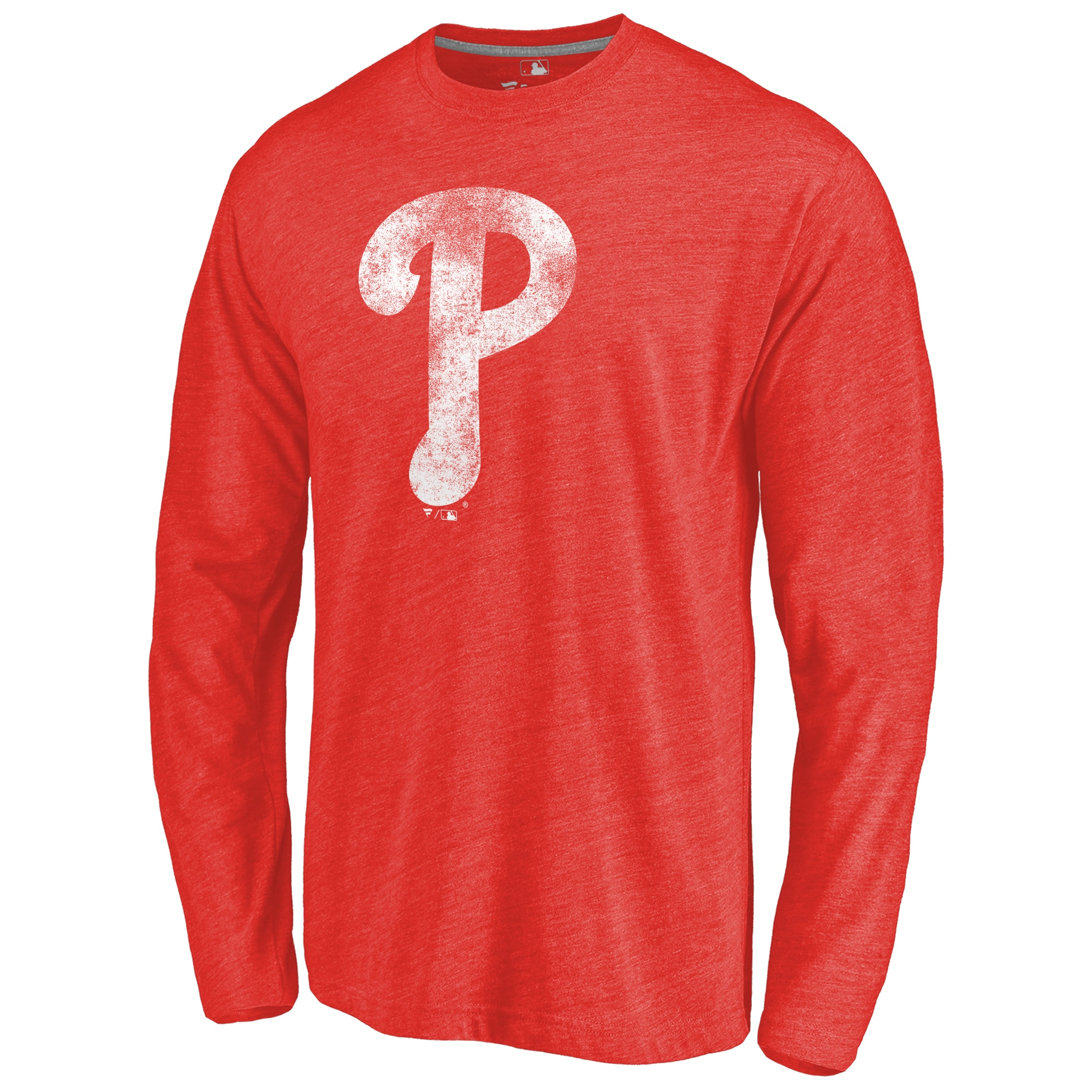 Philadelphia Phillies Distressed Team Long Sleeve Tri-Blend T-shirt - Red