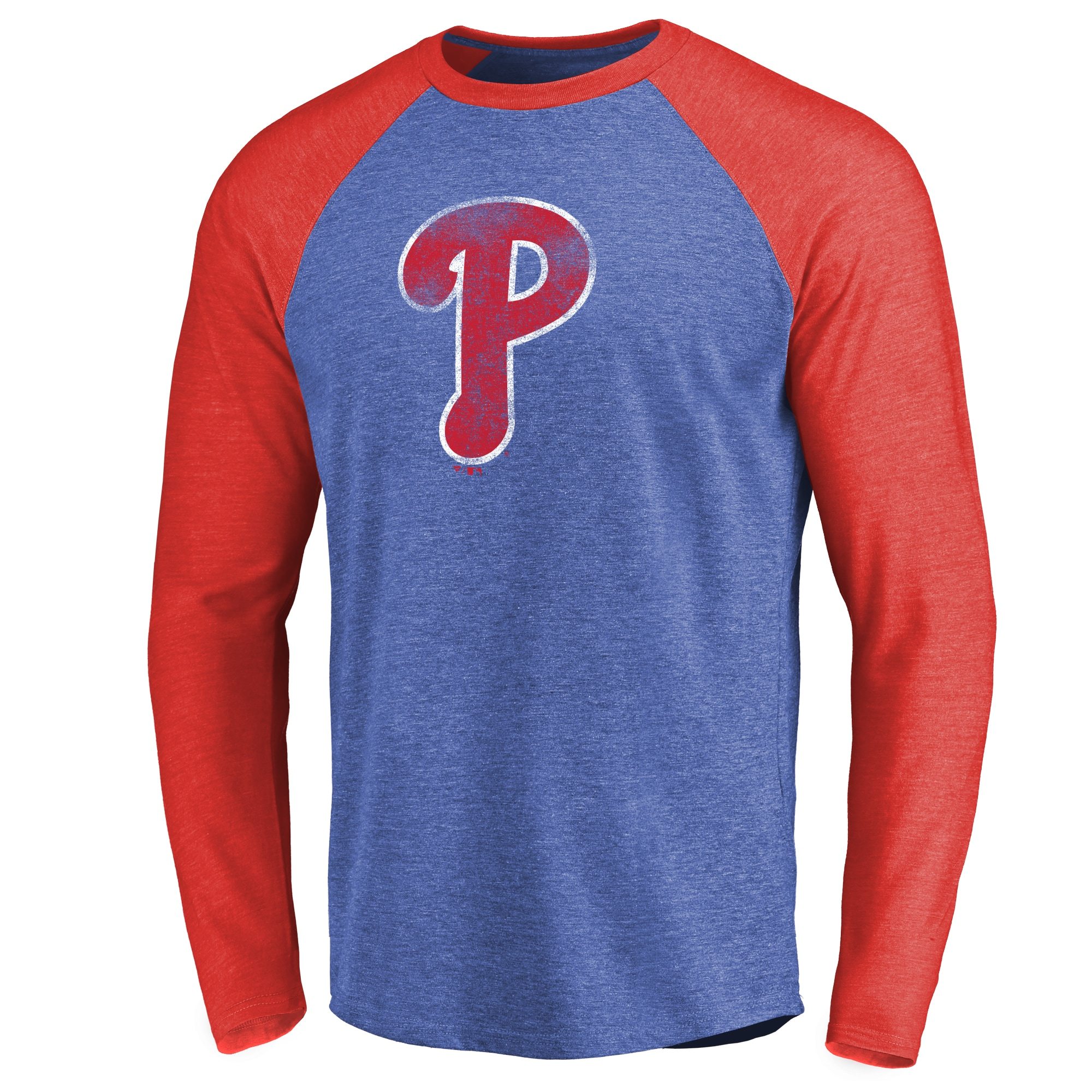 Philadelphia Phillies Distressed Team Raglan Tri-Blend Long Sleeve T-Shirt - Royal