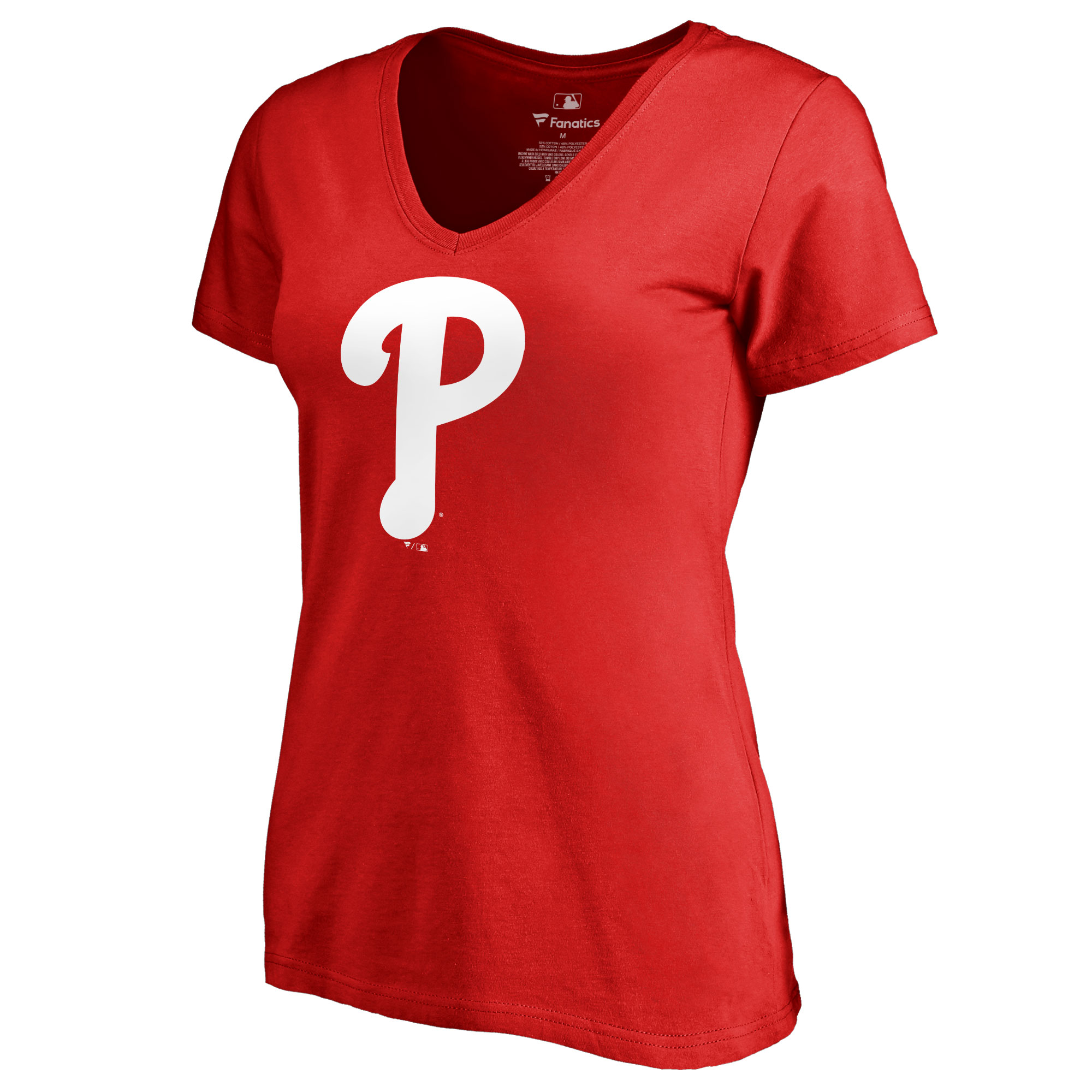Philadelphia Phillies Women's Team Color Primary Logo V-Neck T-Shirt - Red