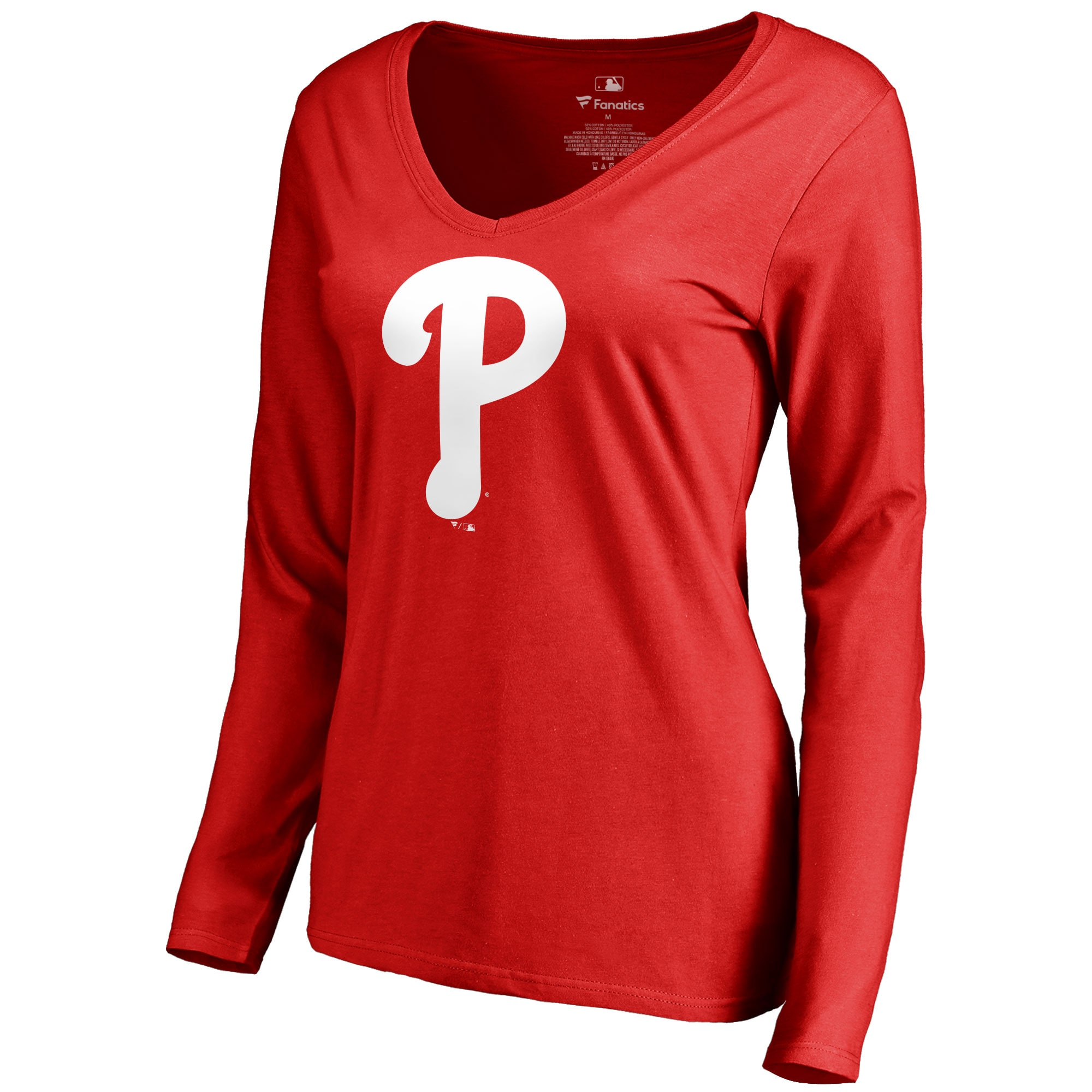 Philadelphia Phillies Women's Team Color Primary Logo V-Neck Long Sleeve T-Shirt - Red
