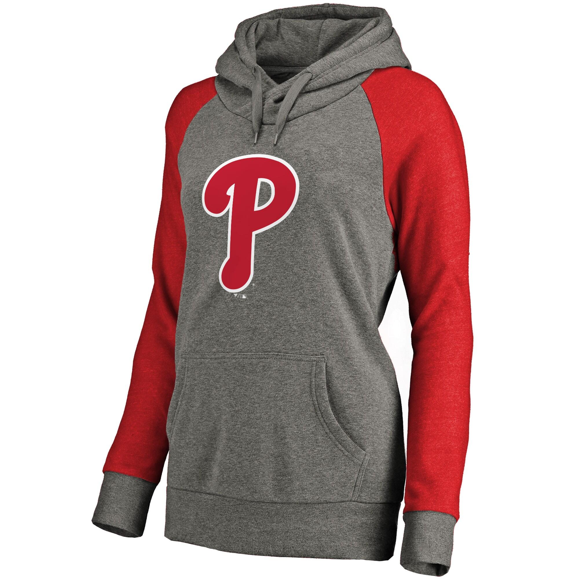 Philadelphia Phillies Women's Primary Logo Raglan Sleeve Tri-Blend Pullover Hoodie - Ash