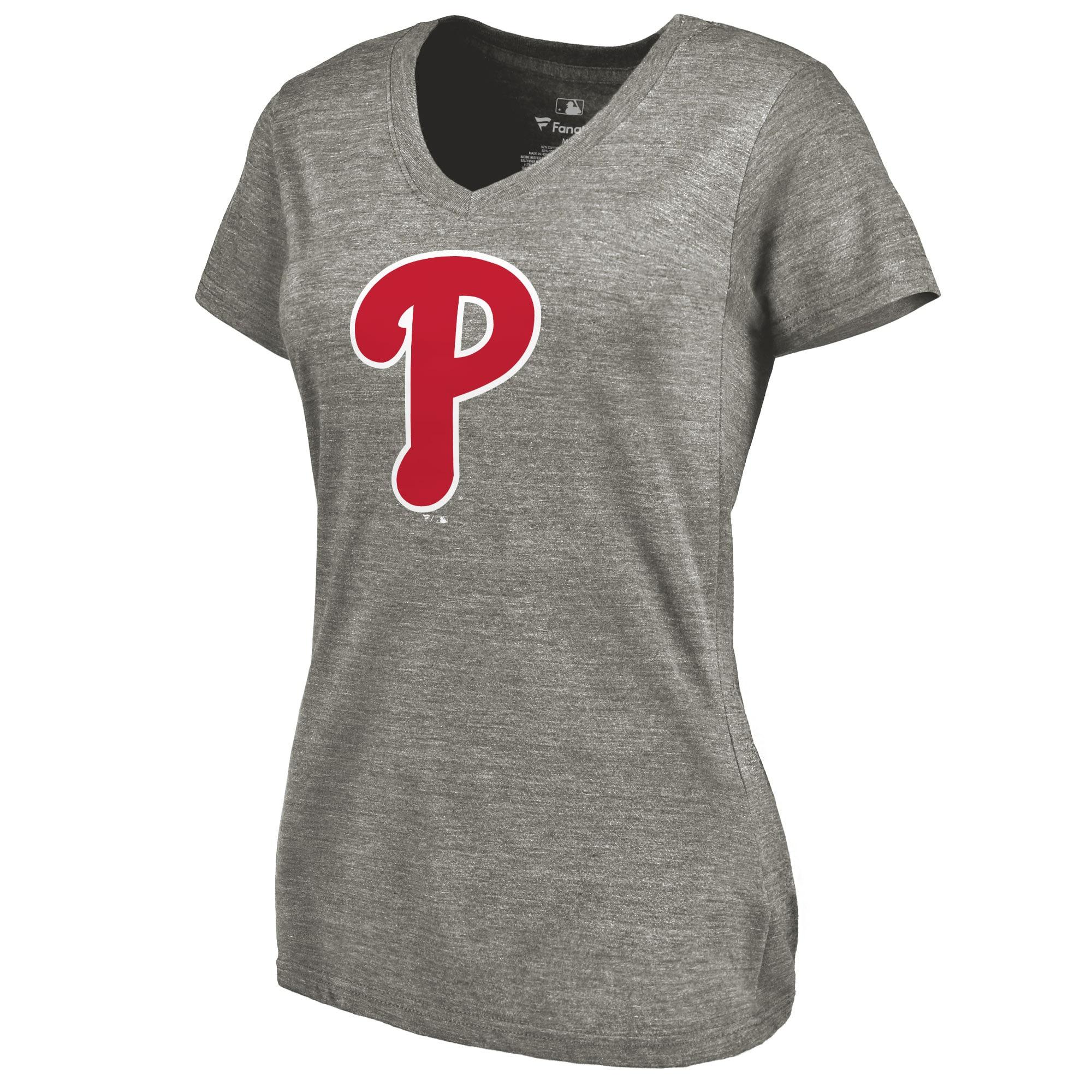 Philadelphia Phillies Women's Primary Logo Tri-Blend V-Neck T-Shirt - Ash