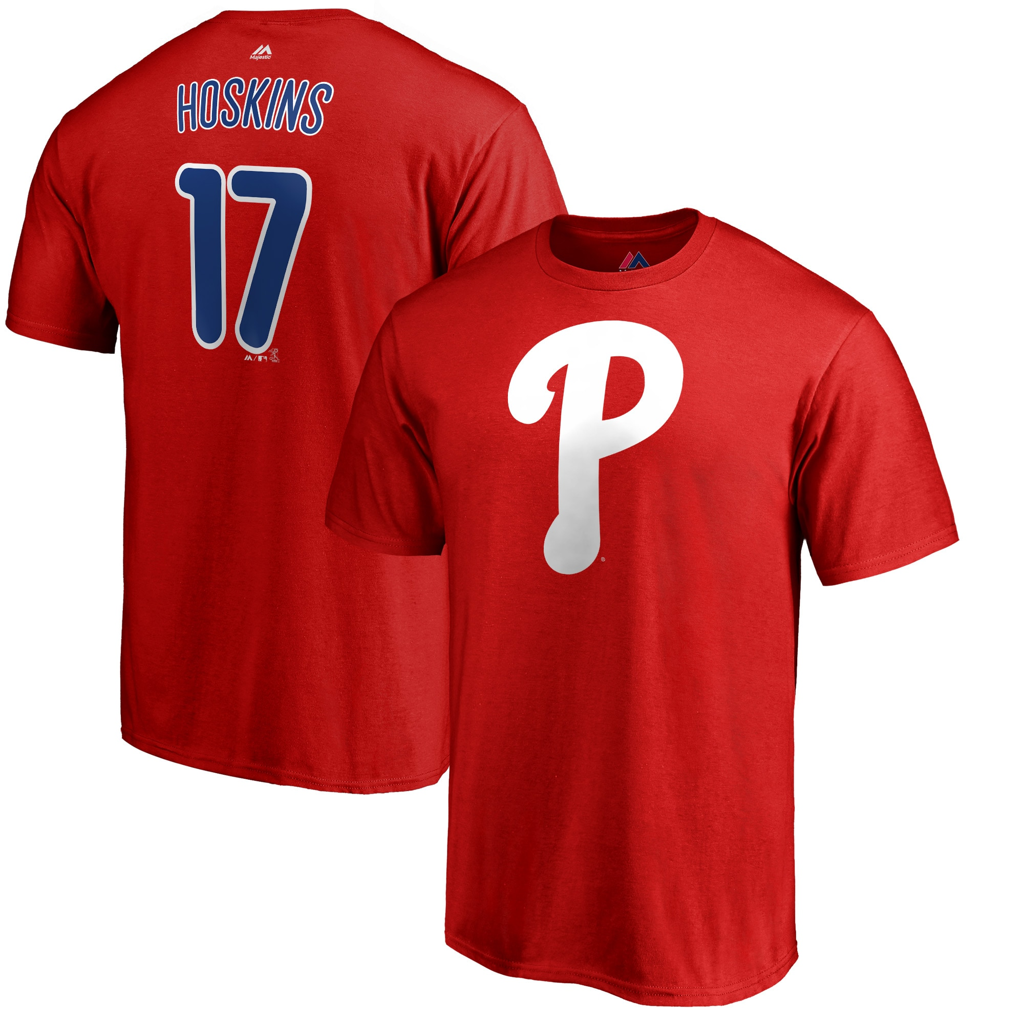 Rhys Hoskins Philadelphia Phillies Majestic Double Play Cap Logo Name & Number T-Shirt - Red