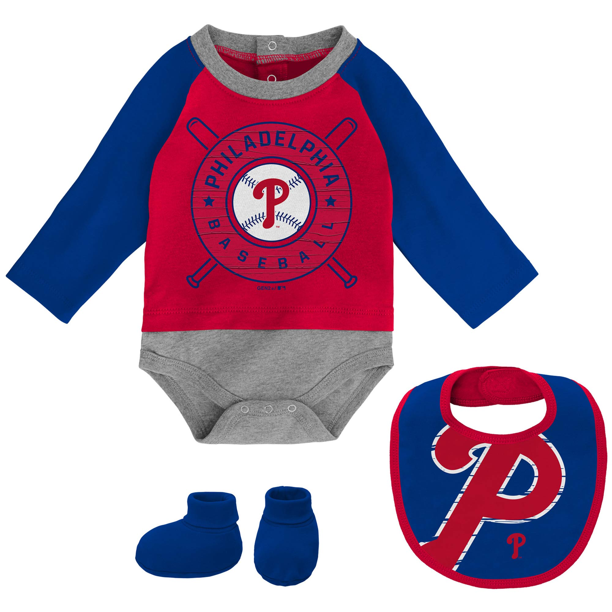Philadelphia Phillies Newborn & Infant Dugout Dude Bodysuit, Bib & Booties Set - Red/Royal