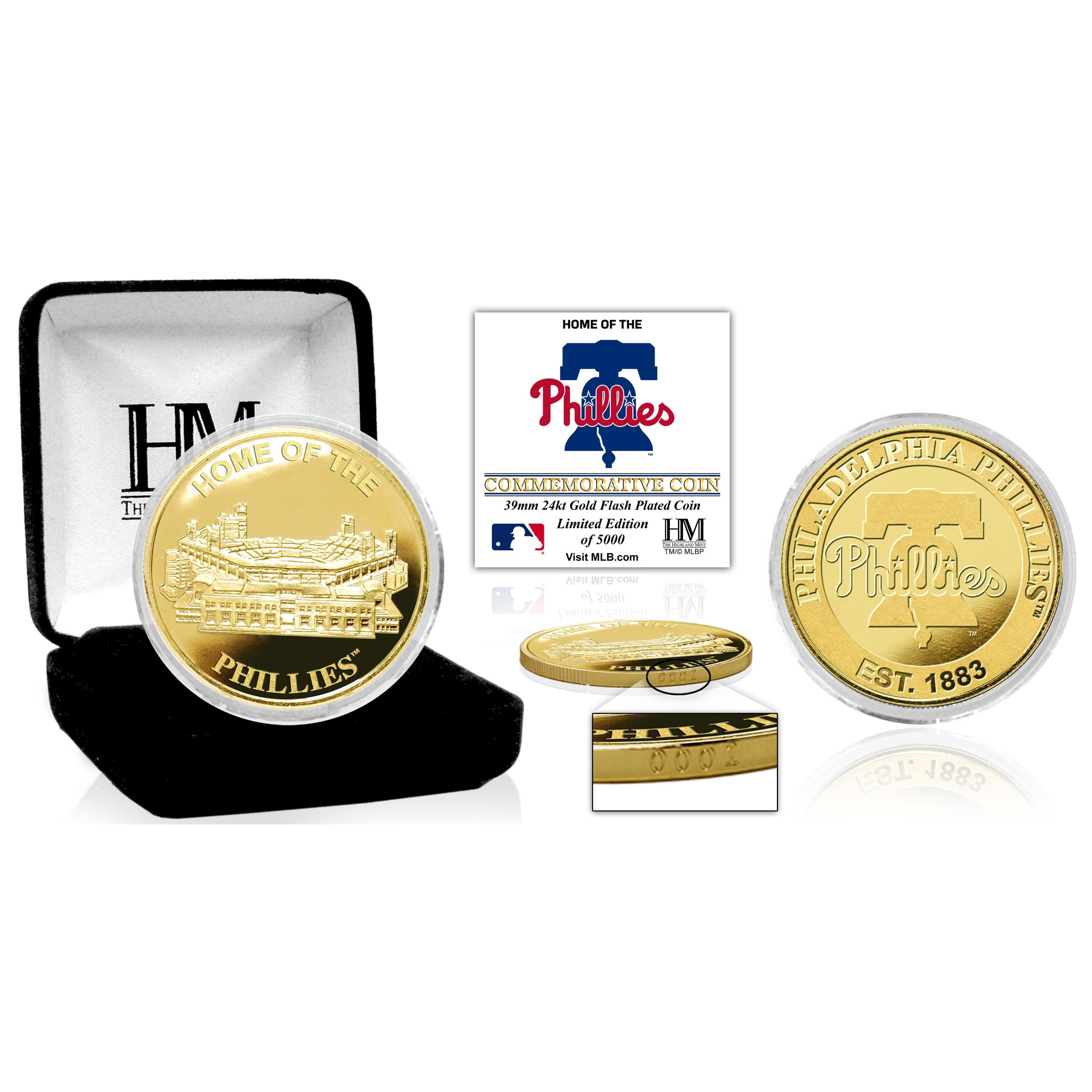 Philadelphia Phillies Highland Mint Stadium Gold Mint Coin