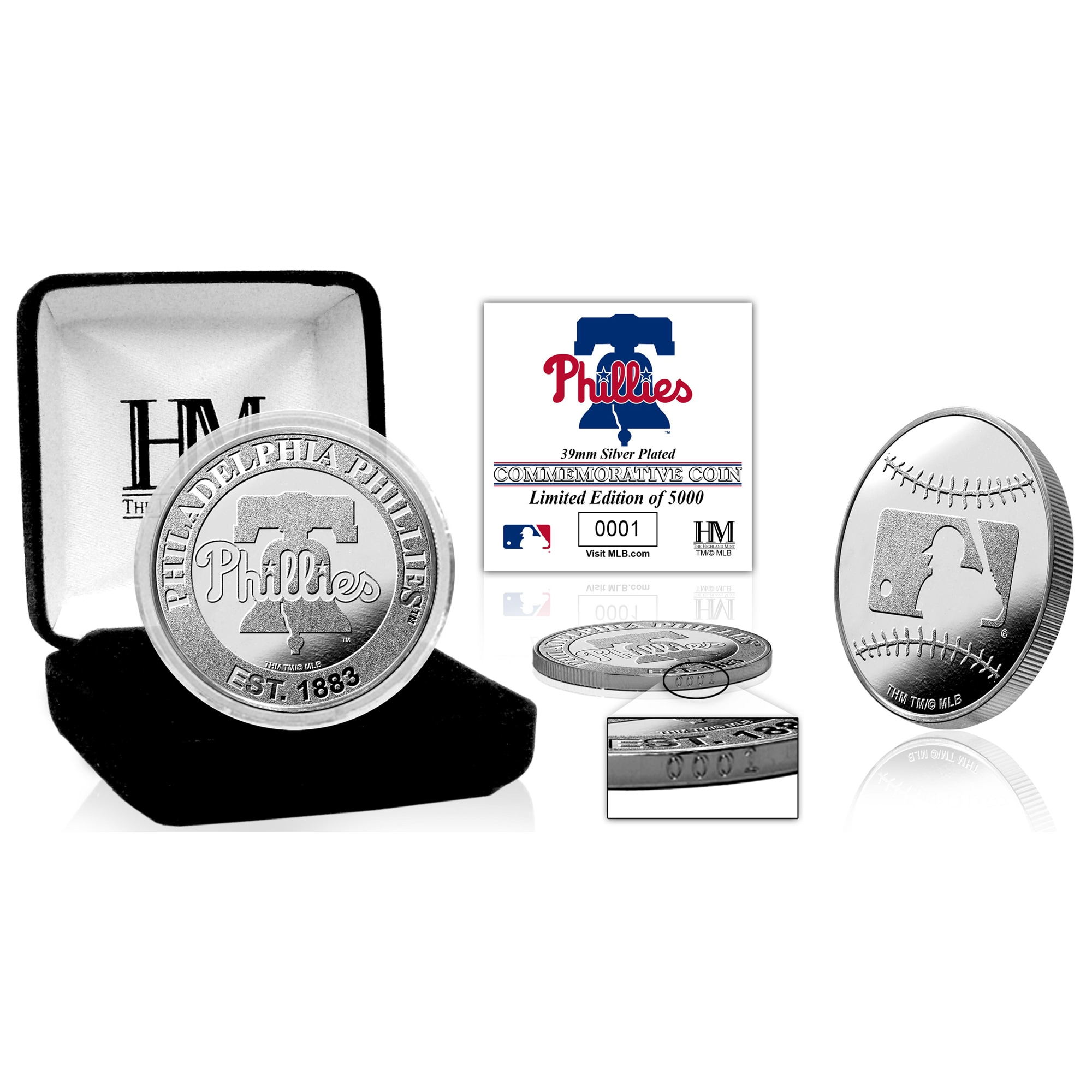 Philadelphia Phillies Highland Mint Silver Mint Coin