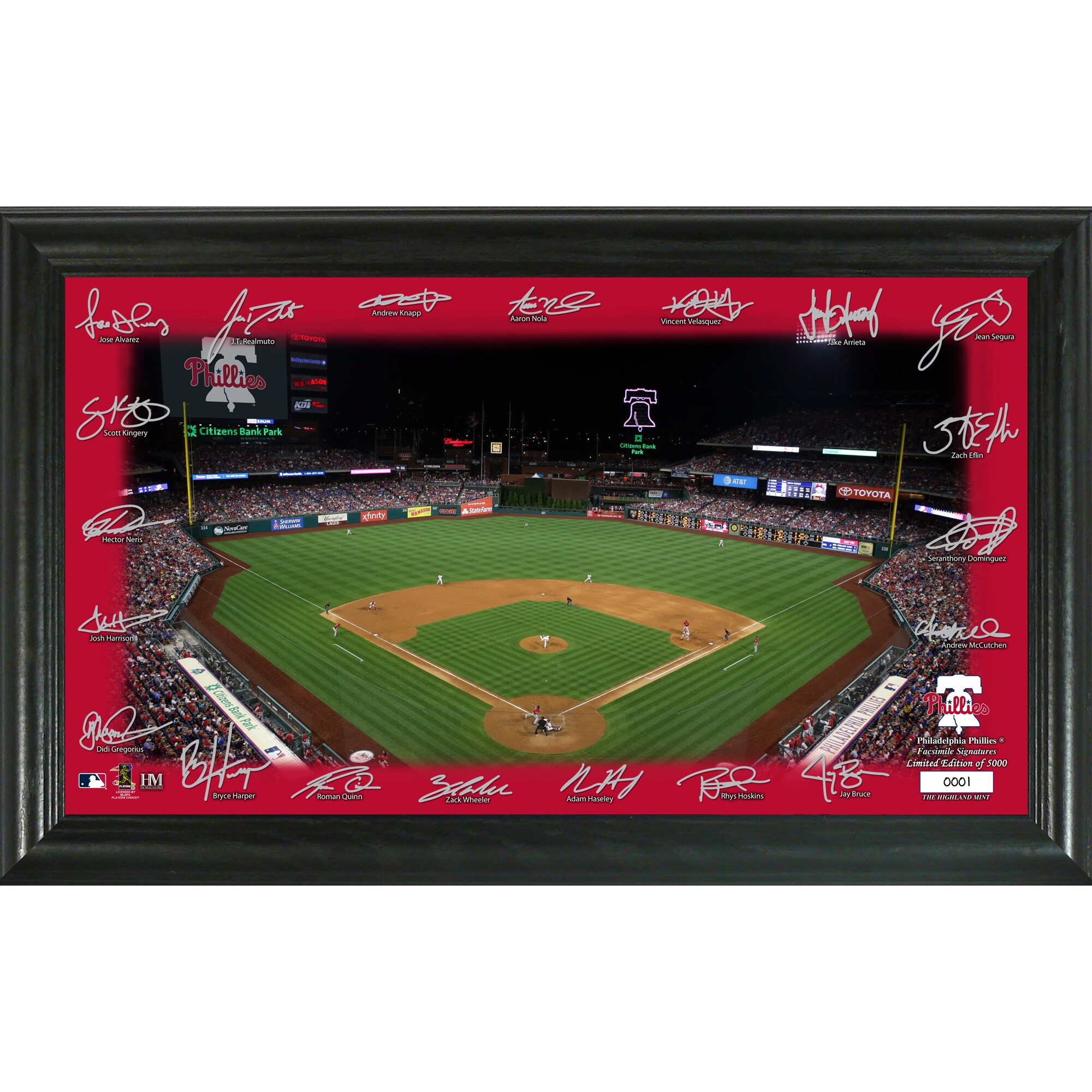Philadelphia Phillies Highland Mint 12'' x 20'' Signature Field Limited Editon Framed Photo Mint
