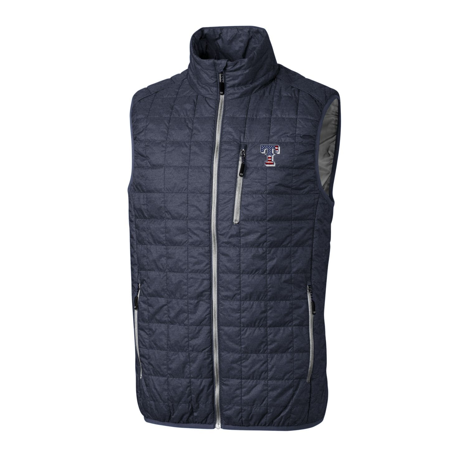 Texas Rangers Cutter & Buck Stars & Stripes Big & Tall Full-Zip Rainier Vest - Gray