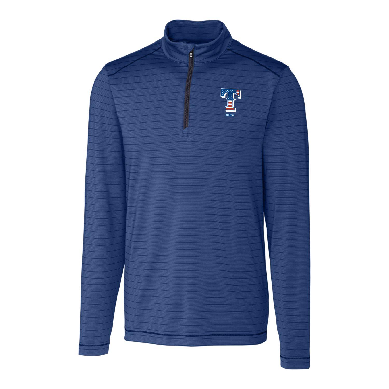 Texas Rangers Cutter & Buck Stars & Stripes Holman Stripe Half-Zip Pullover Jacket - Navy