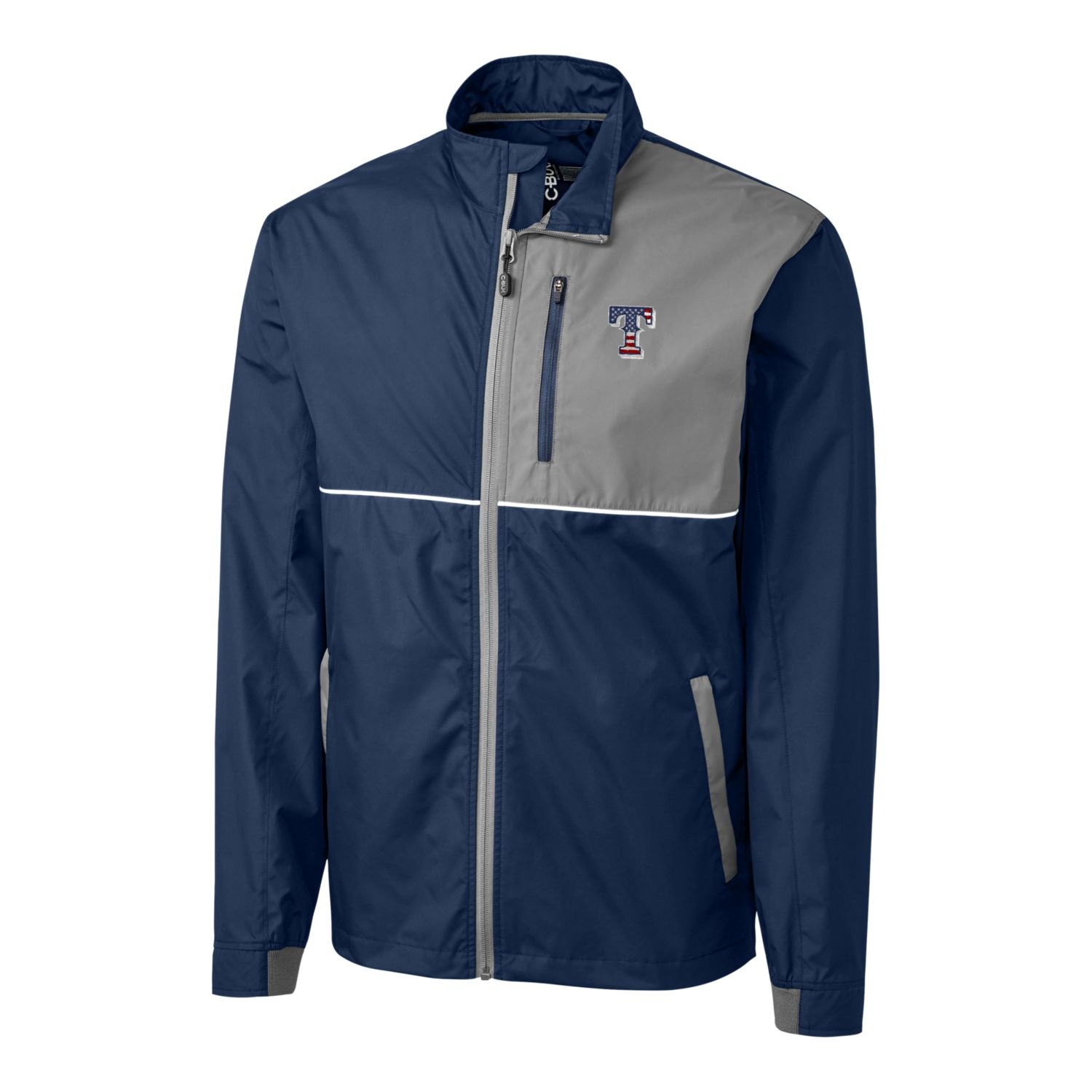 Texas Rangers Cutter & Buck Stars & Stripes Full-Zip Oakridge Windbreaker Jacket - Navy/Gray