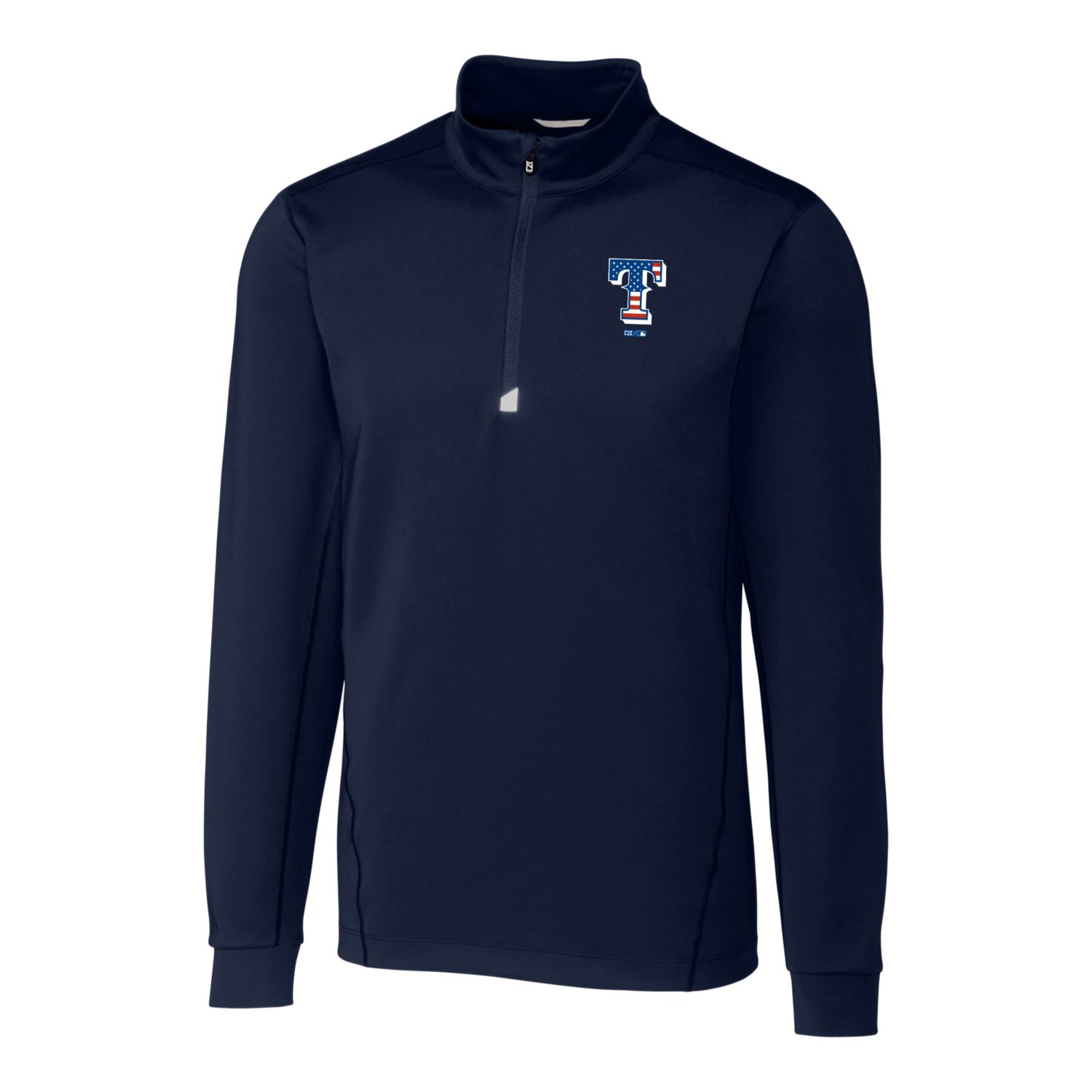 Texas Rangers Cutter & Buck Stars & Stripes Traverse Half-Zip Pullover Jacket - Navy
