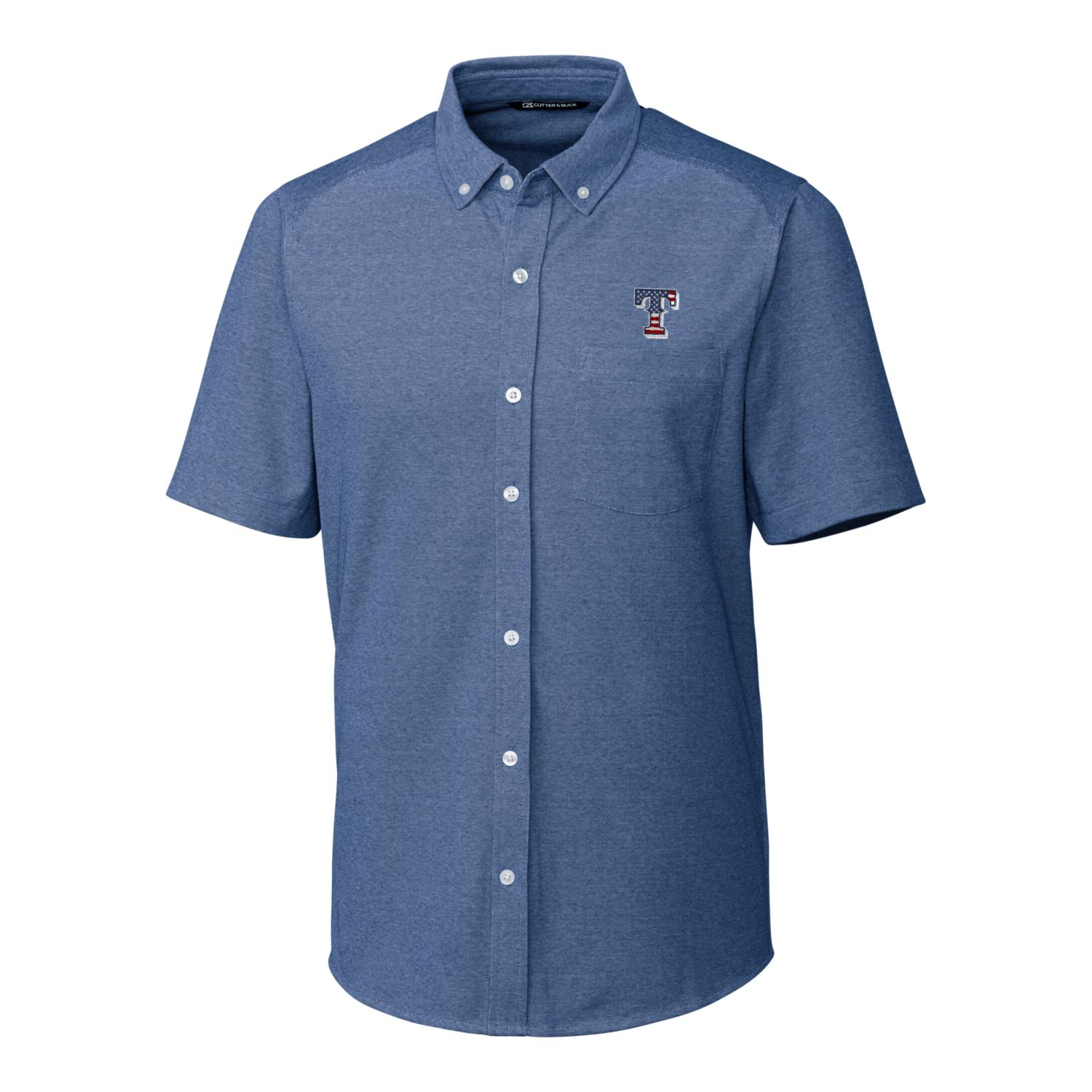 Texas Rangers Cutter & Buck Stars & Stripes Reach Oxford Button-Down Short Sleeve Shirt - Navy