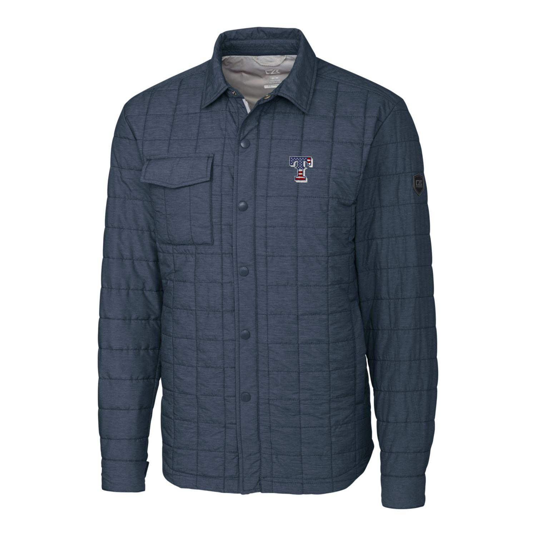 Texas Rangers Cutter & Buck Stars & Stripes Full-Zip Rainier Shirt Jacket - Gray