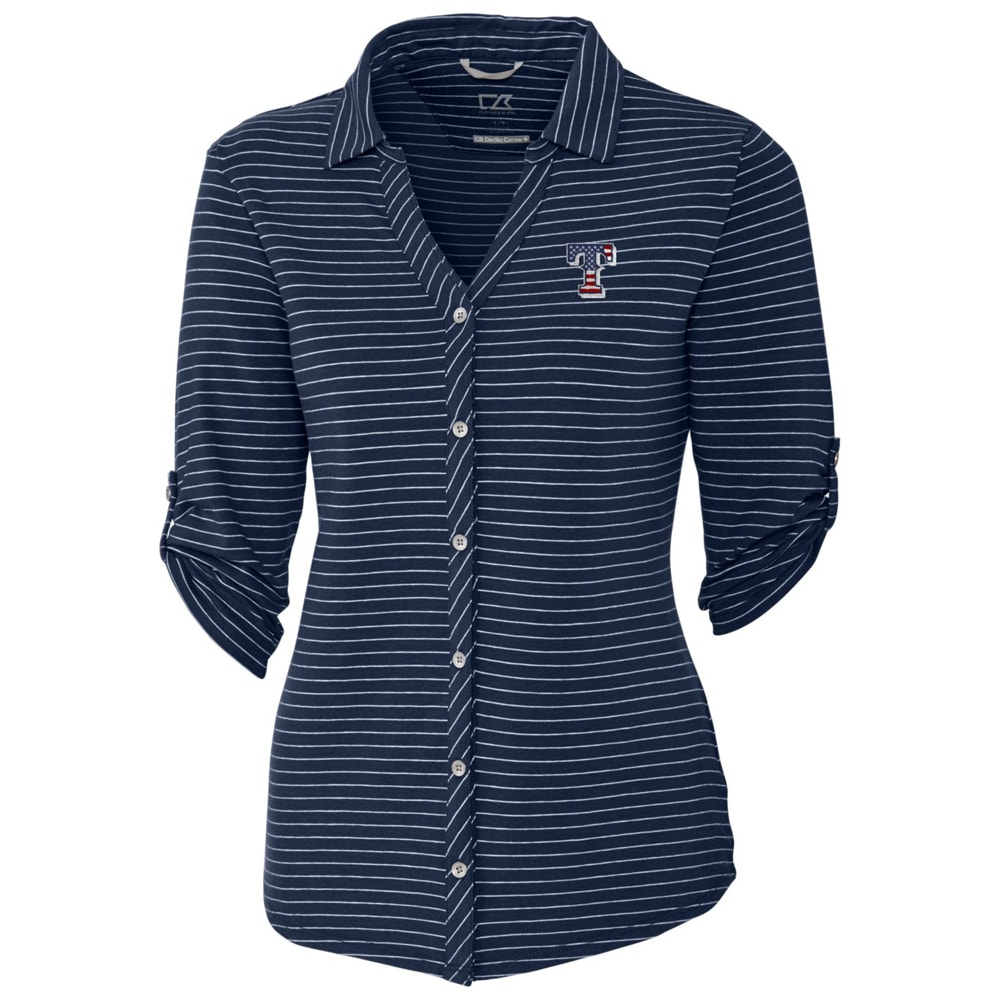 Texas Rangers Cutter & Buck Women's Academy Stripe 3/4 Sleeve Button-Up Shirt - Navy