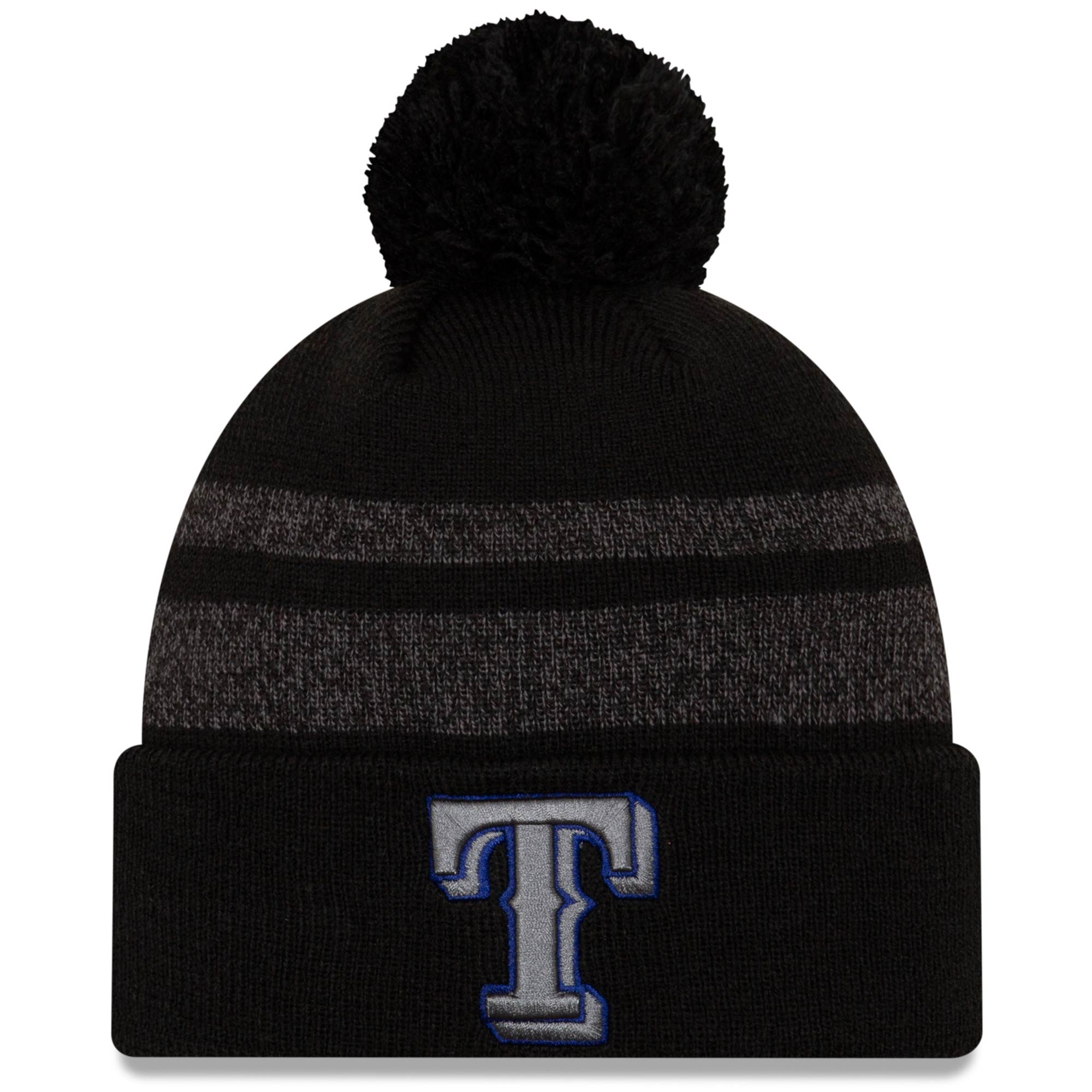 Texas Rangers New Era Dispatch Cuffed Knit Hat With Pom - Black
