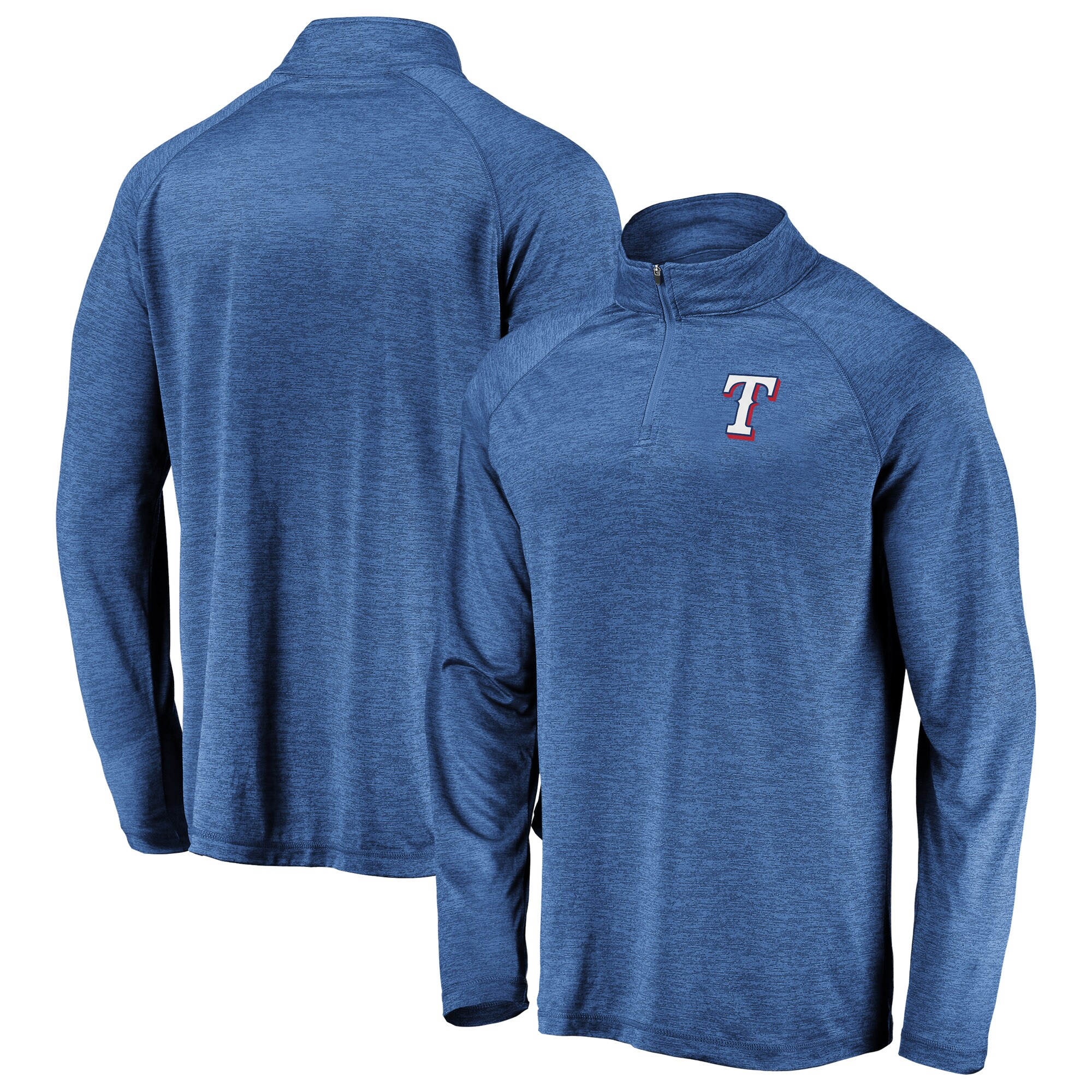 Texas Rangers Fanatics Branded Iconic Striated Primary Logo Raglan Quarter-Zip Pullover Jacket - Royal