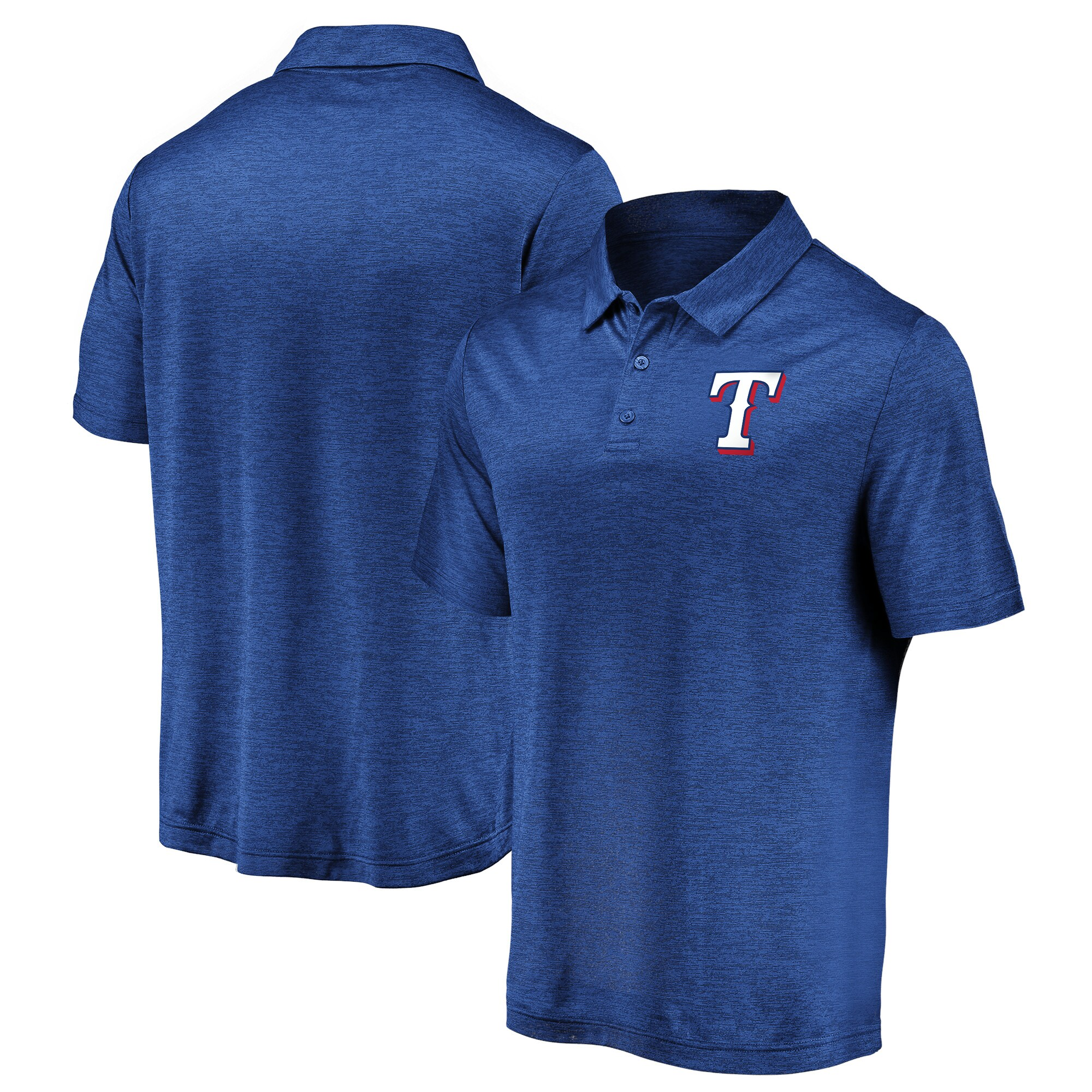 Texas Rangers Fanatics Branded Iconic Striated Primary Logo Polo - Royal