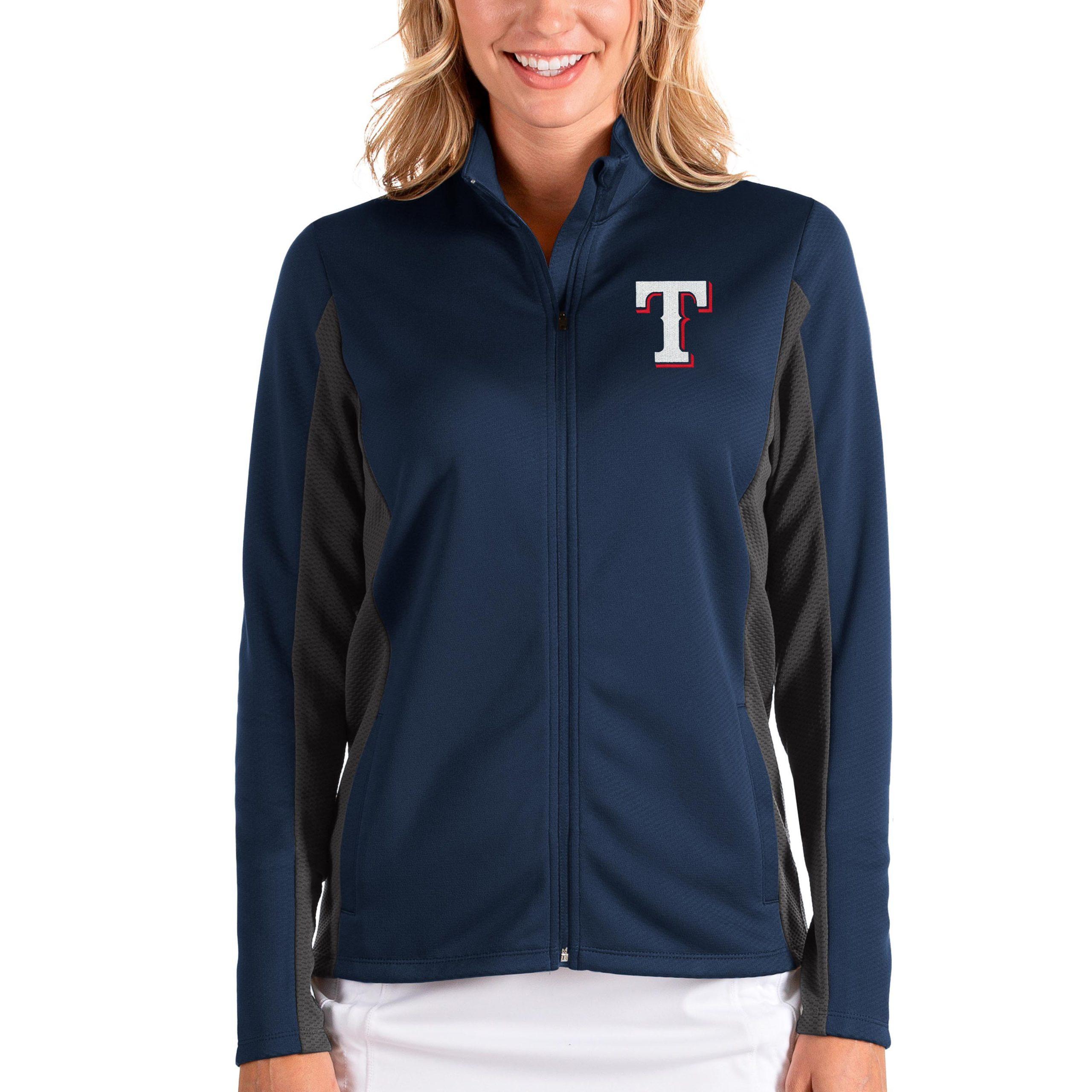 Texas Rangers Antigua Women's Passage Full-Zip Jacket - Navy/Charcoal