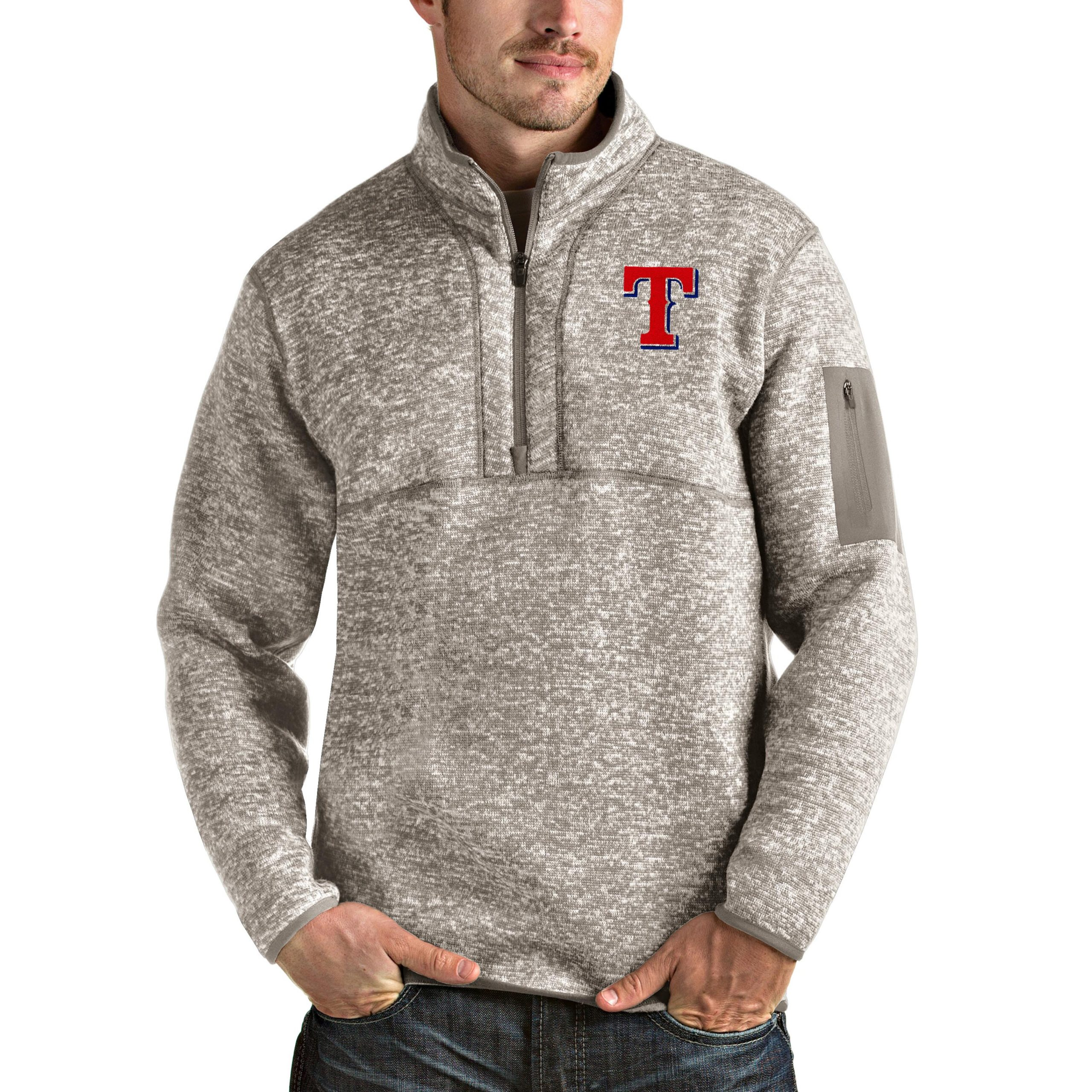 Texas Rangers Antigua Fortune Quarter-Zip Pullover Jacket - Oatmeal