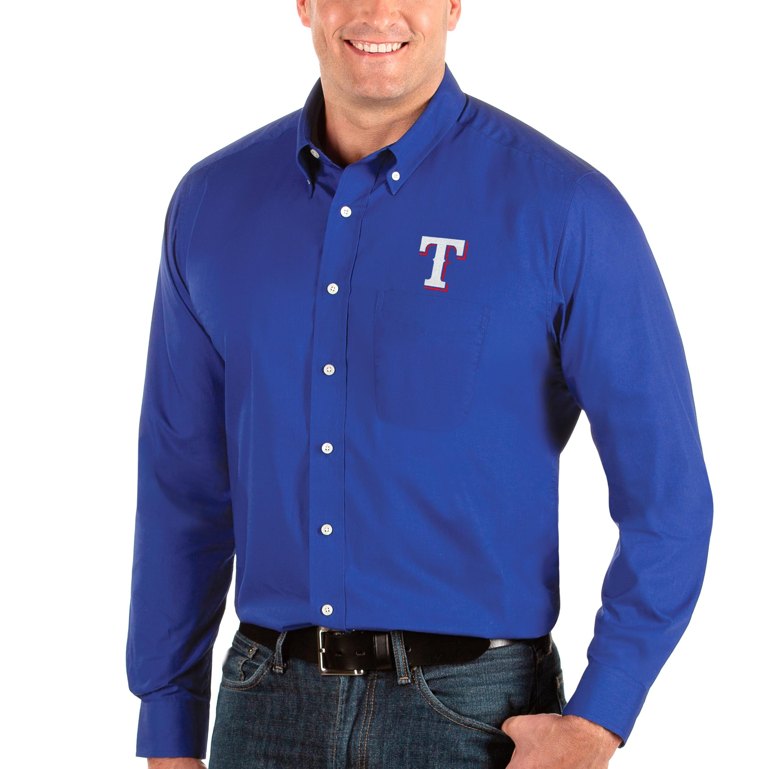 Texas Rangers Antigua Big & Tall Dynasty Button-Down Long Sleeve Shirt - Royal