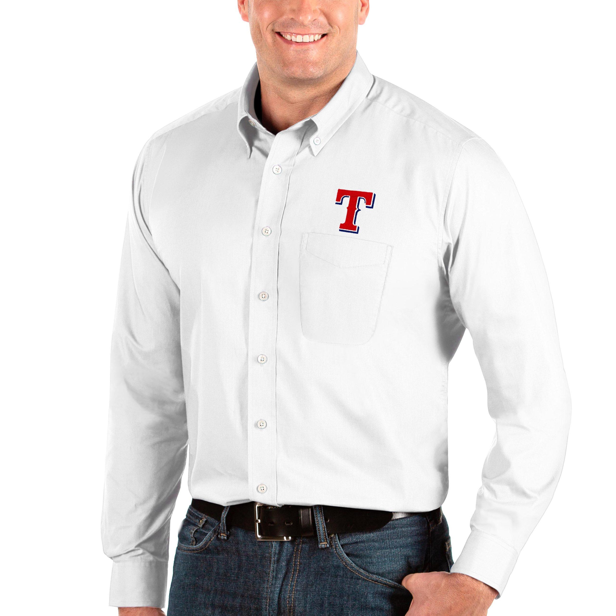 Texas Rangers Antigua Big & Tall Dynasty Button-Down Long Sleeve Shirt - White