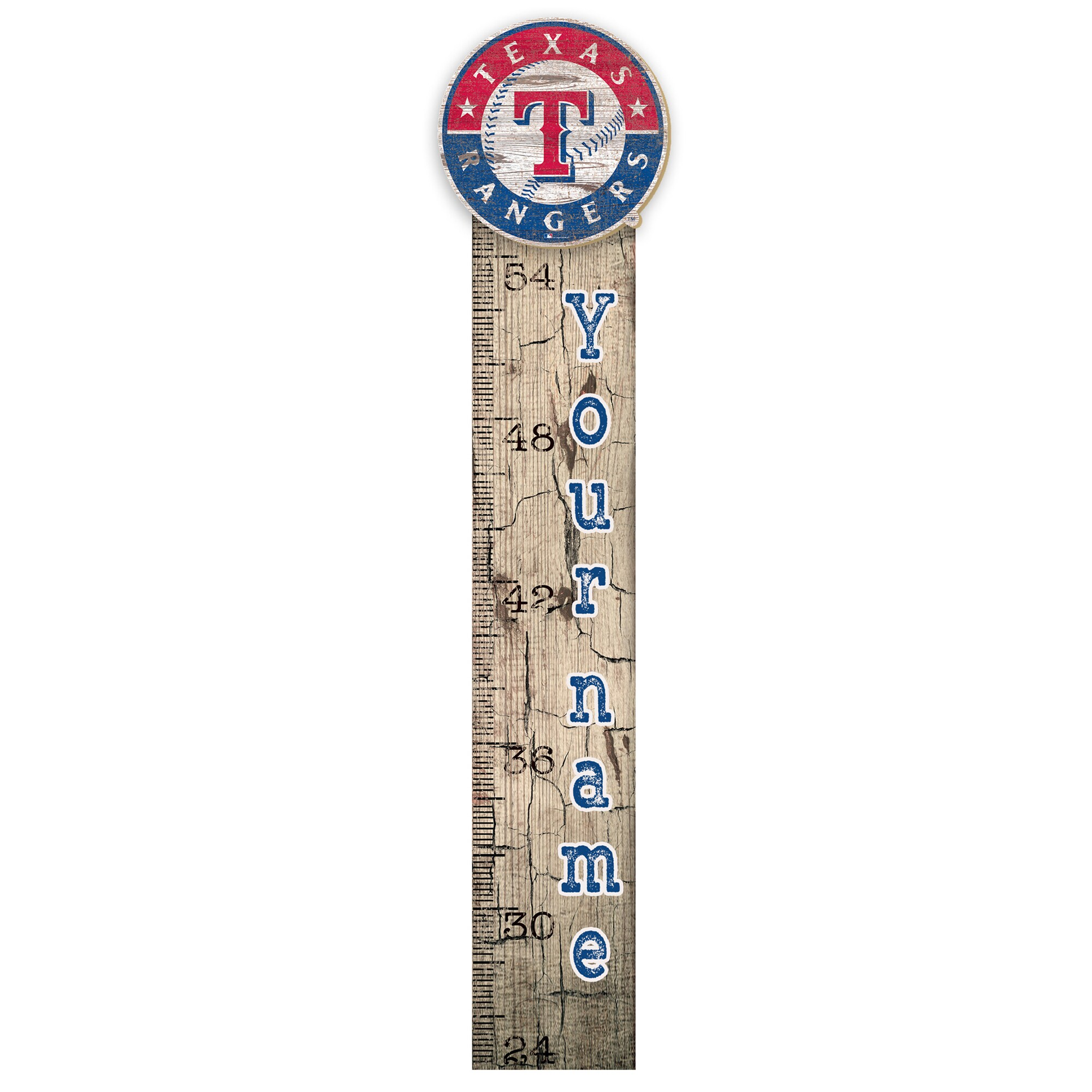 """Texas Rangers 6"""" x 36"""" Personalized Growth Chart Sign"""