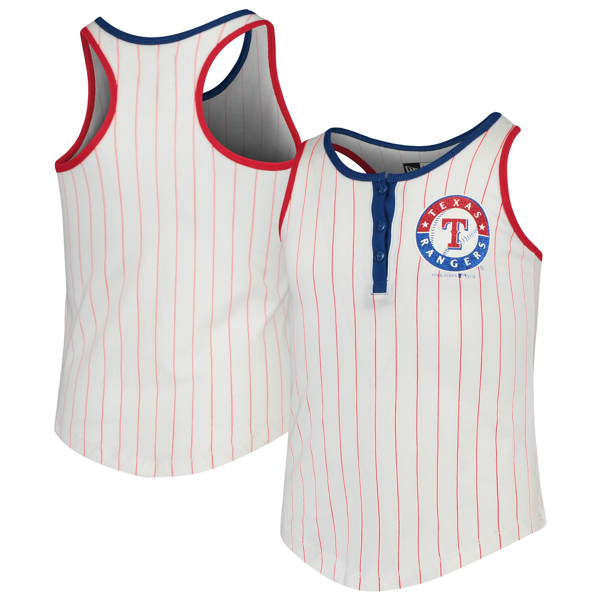 Texas Rangers New Era Girls Youth Pinstripe Jersey Racerback Tank Top - White/Red