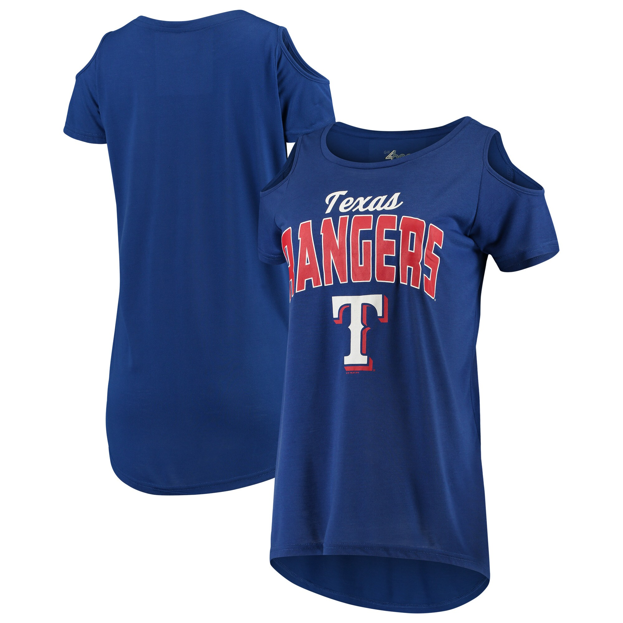 Texas Rangers G-III 4Her by Carl Banks Women's Clear the Bases Cold Shoulder T-Shirt - Royal