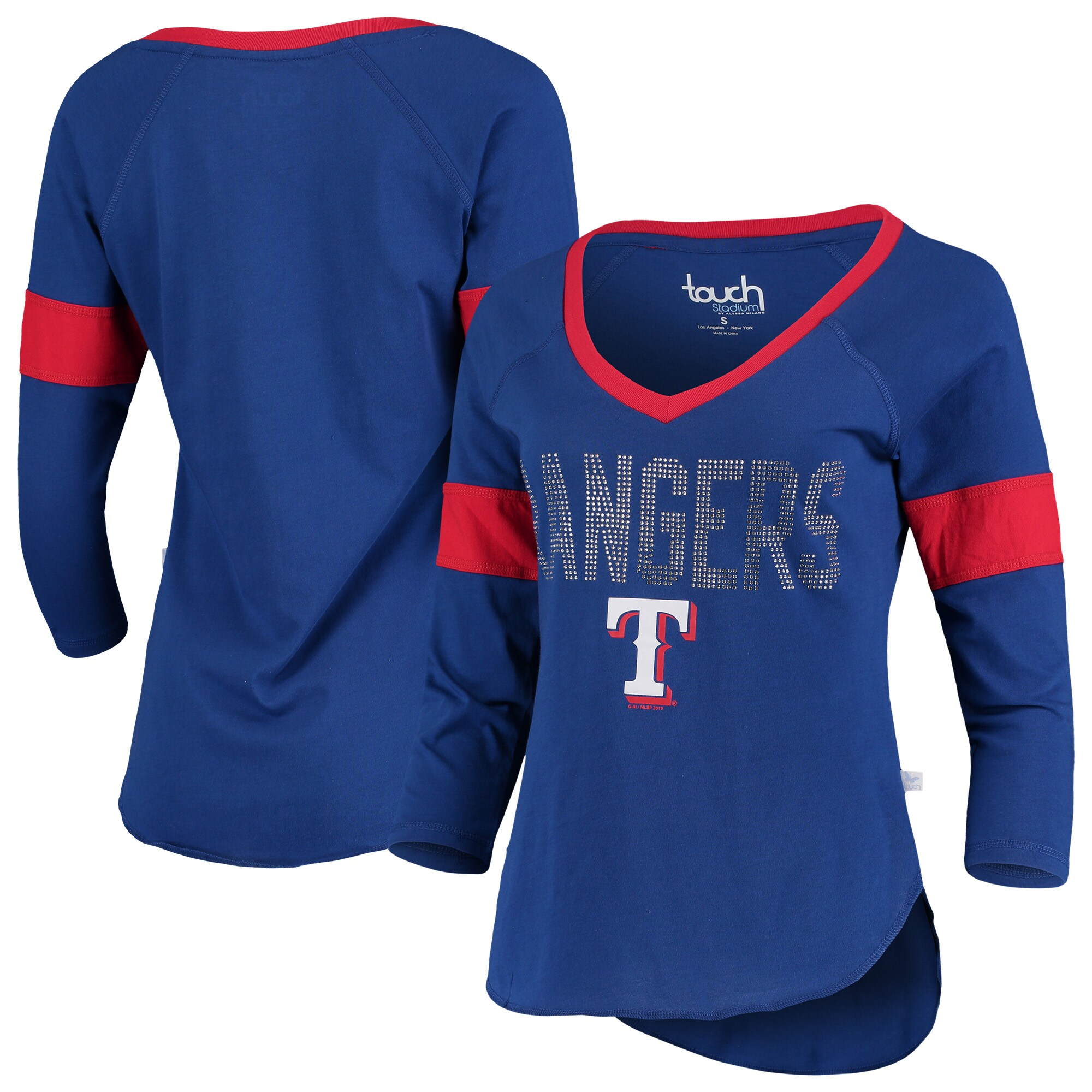 Texas Rangers Touch by Alyssa Milano Women's Ultimate Fan 3/4-Sleeve Raglan V-Neck T-Shirt - Royal
