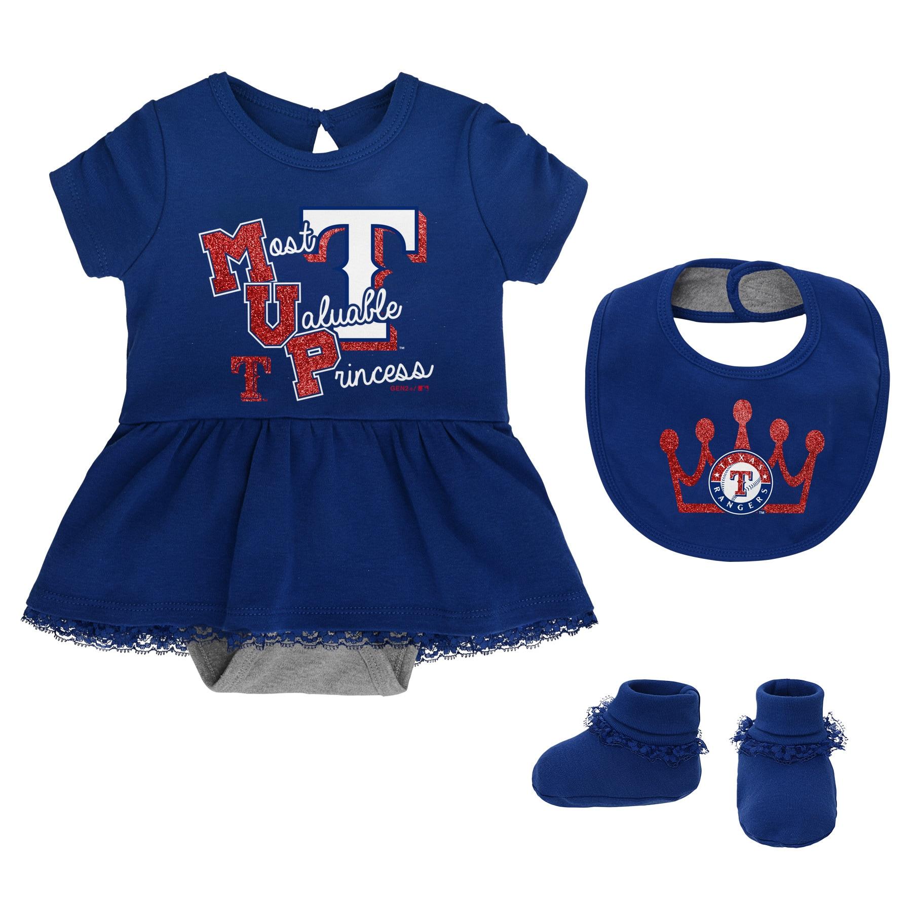 Texas Rangers Girls Newborn & Infant Diamond Bodysuit, Bib & Booties Set - Royal