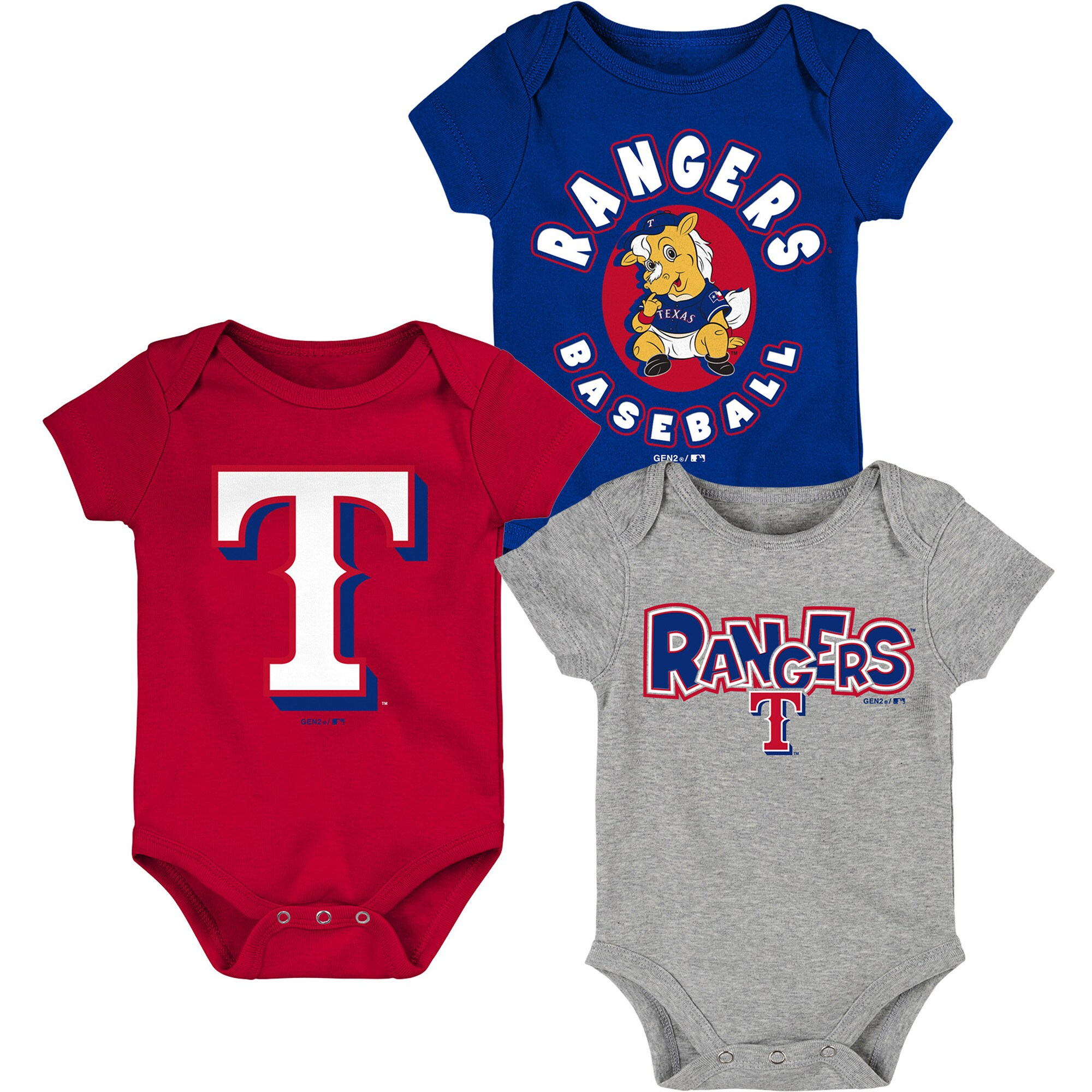 Texas Rangers Infant Everyday Fan Three-Pack Bodysuit Set - Royal/Red/Gray