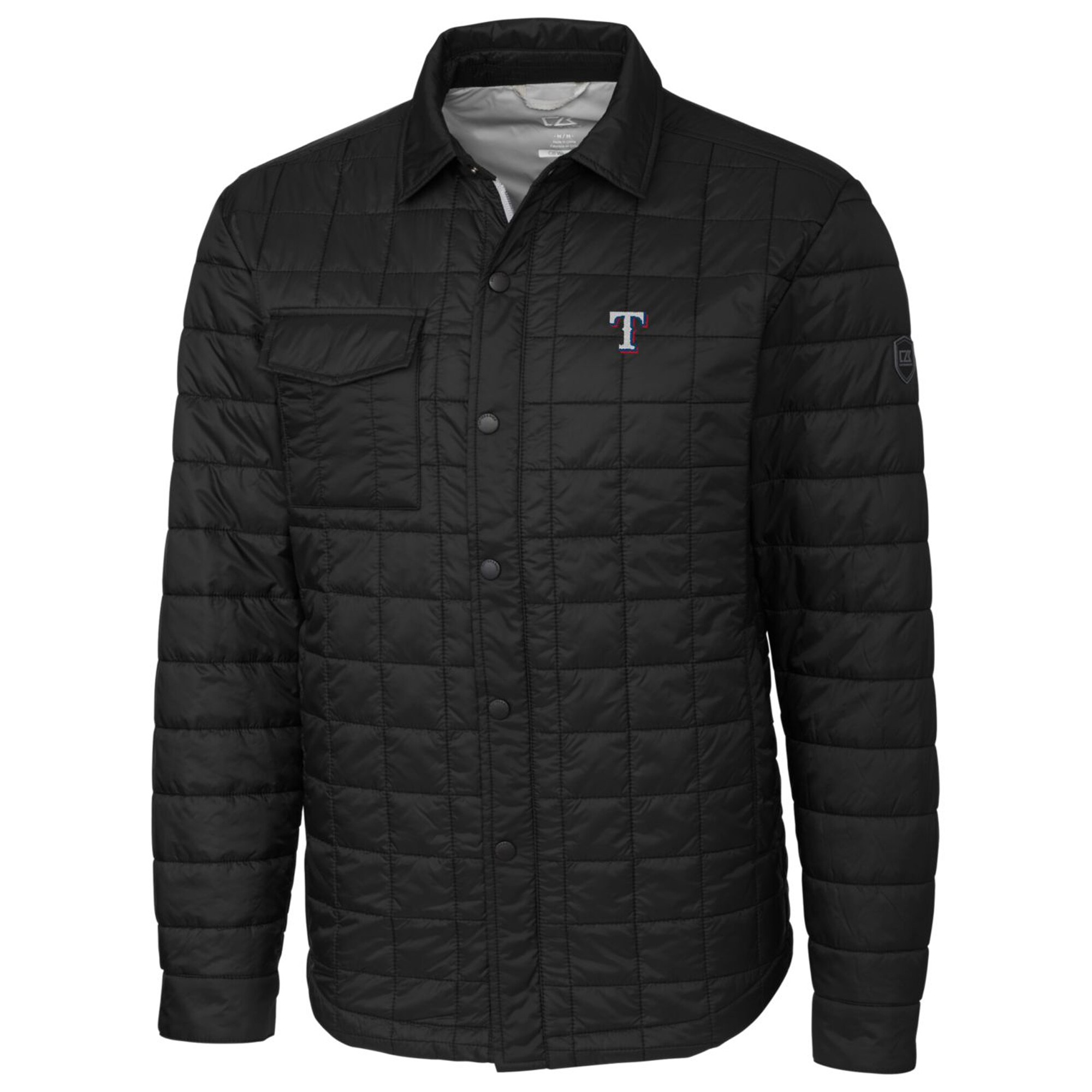 Texas Rangers Cutter & Buck Rainier Shirt Full-Zip Jacket - Black