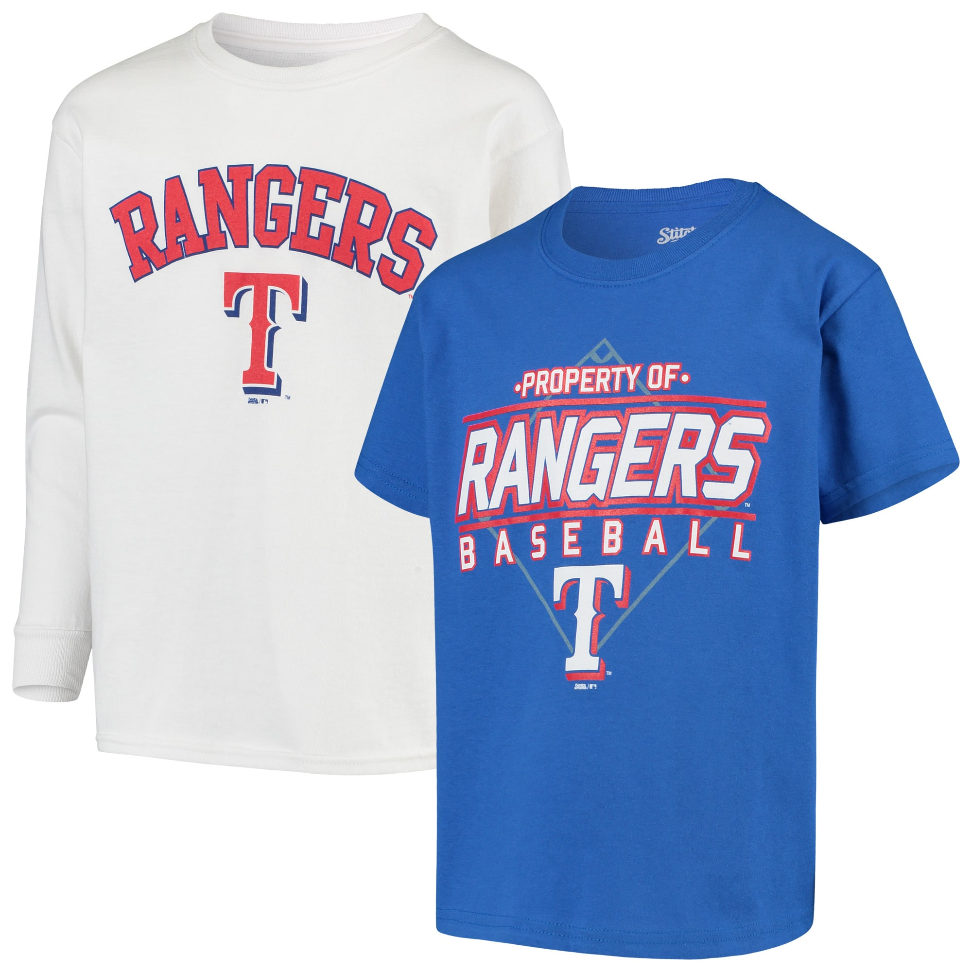 Texas Rangers Stitches Youth T-Shirt Combo Set - Royal/White