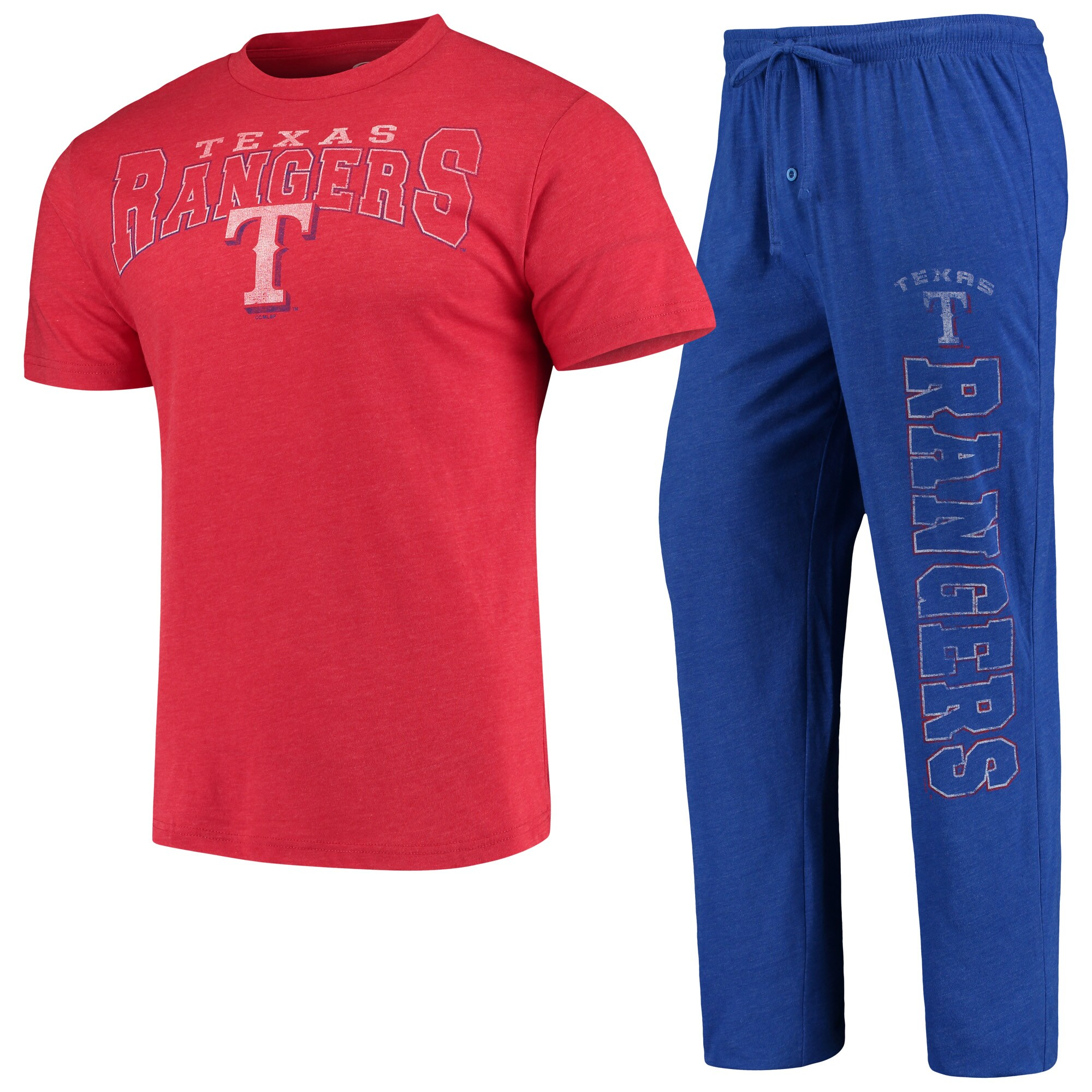 Texas Rangers Concepts Sport Topic T-Shirt & Pants Sleep Set - Heathered Red/Royal