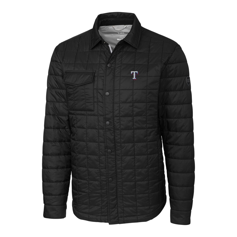 Texas Rangers Cutter & Buck Big & Tall Rainier Shirt Jacket - Black