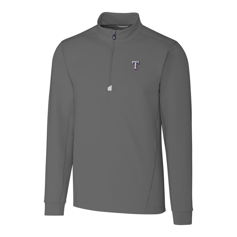 Texas Rangers Cutter & Buck Big & Tall Traverse Half-Zip Pullover Jacket - Gray