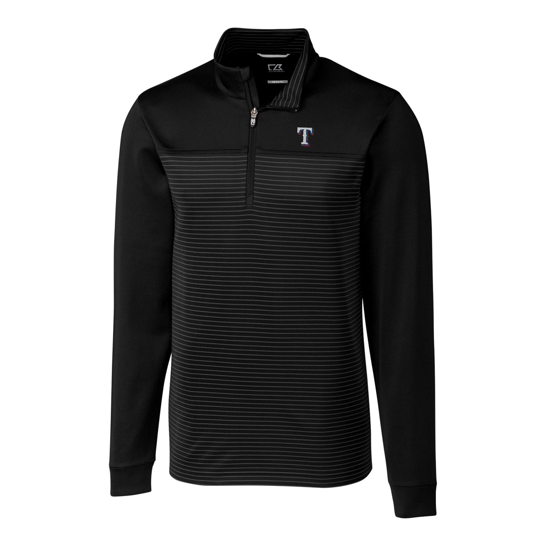 Texas Rangers Cutter & Buck Big & Tall Traverse Stripe Half-Zip Pullover Jacket - Black