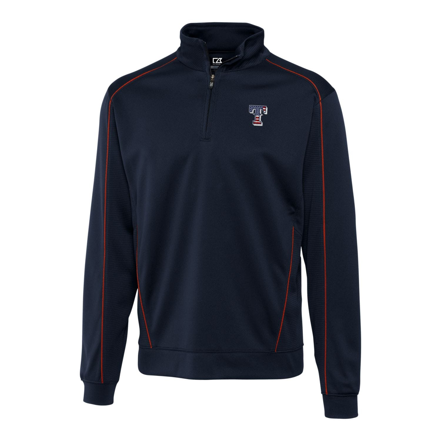 Texas Rangers Cutter & Buck Stars & Stripes Big & Tall DryTec Edge Half-Zip Pullover Jacket - Navy/Red
