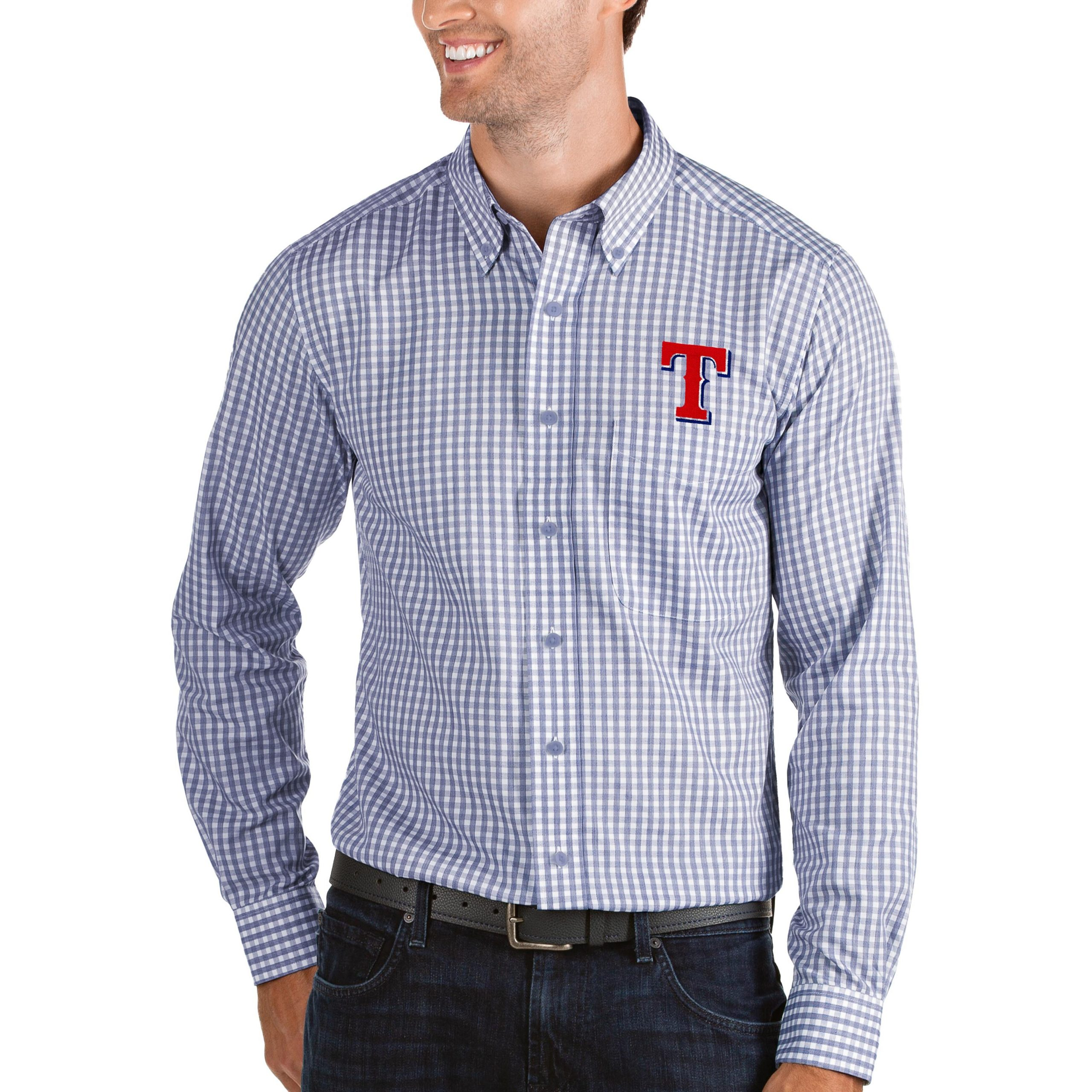 Texas Rangers Antigua Structure Button-Down Long Sleeve Shirt - Royal/White