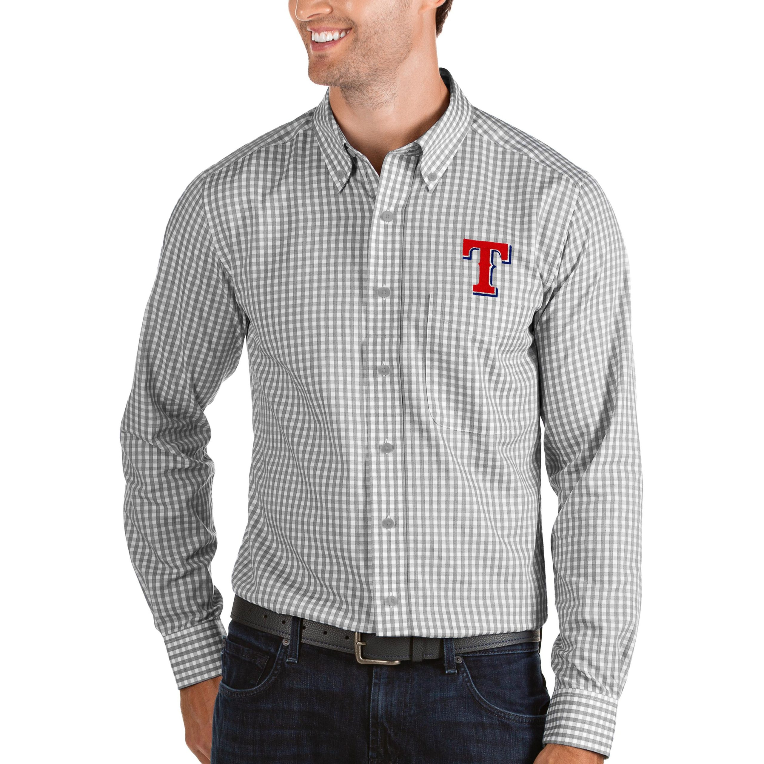 Texas Rangers Antigua Structure Button-Down Long Sleeve Shirt - Steel/White