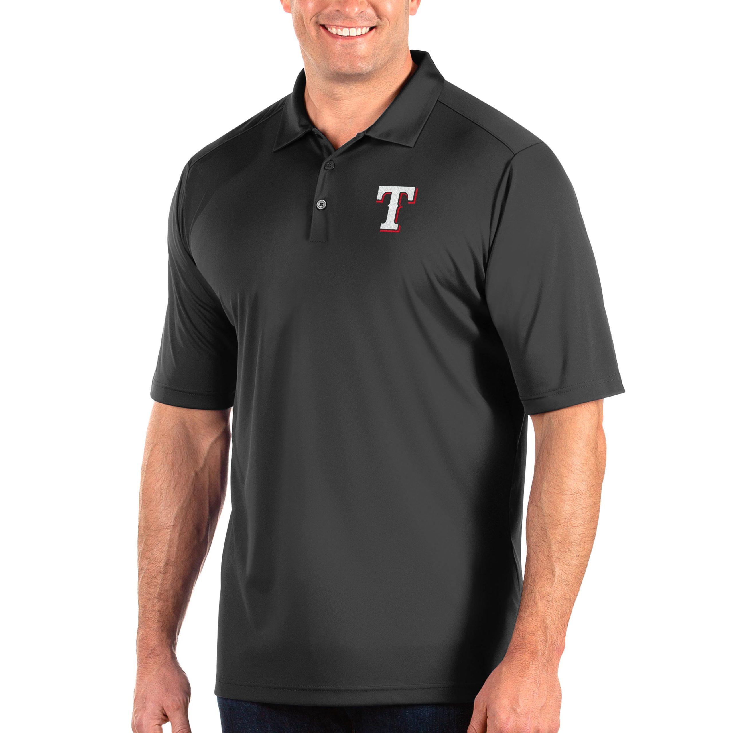 Texas Rangers Antigua Big & Tall Tribute Polo - Gray