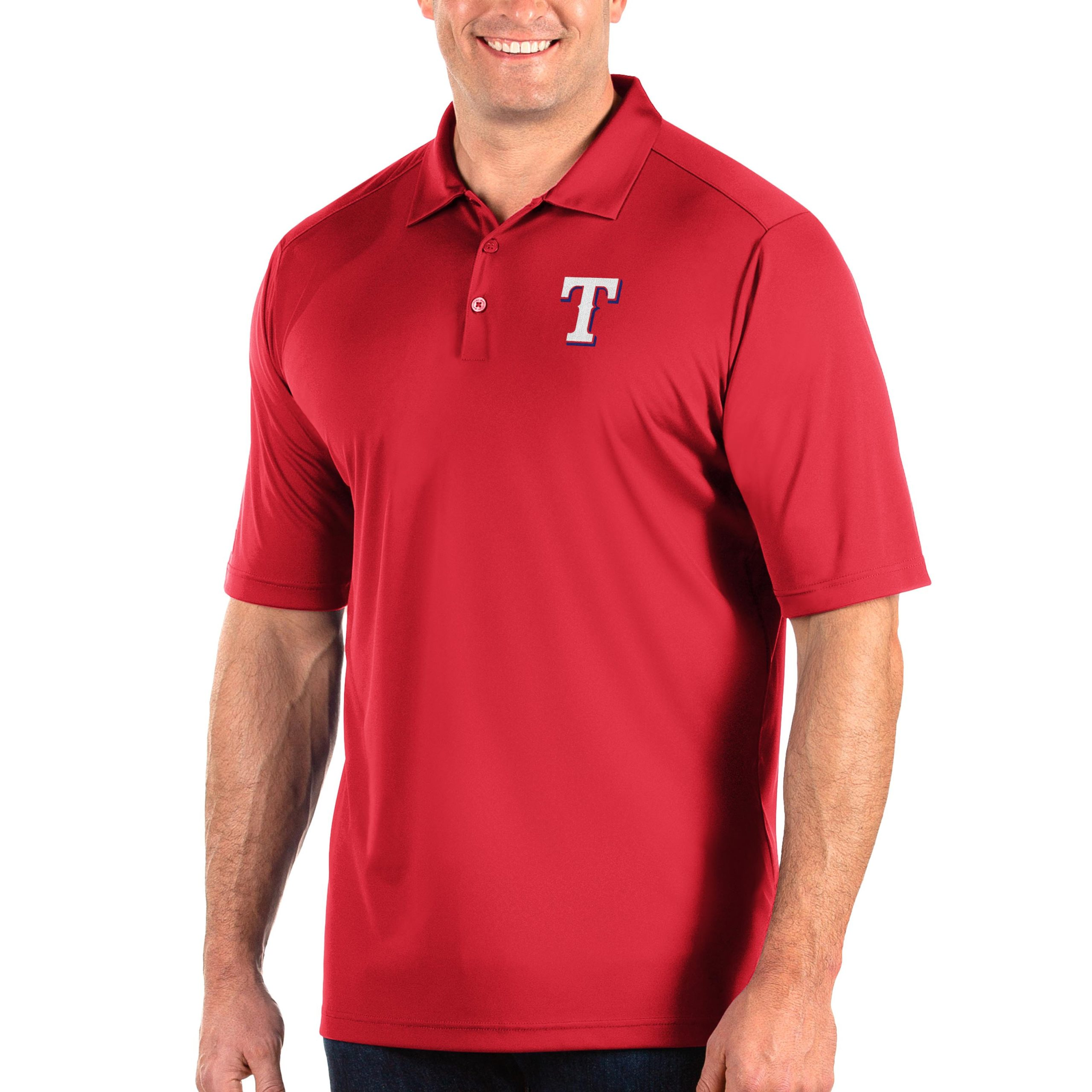 Texas Rangers Antigua Big & Tall Tribute Polo - Red