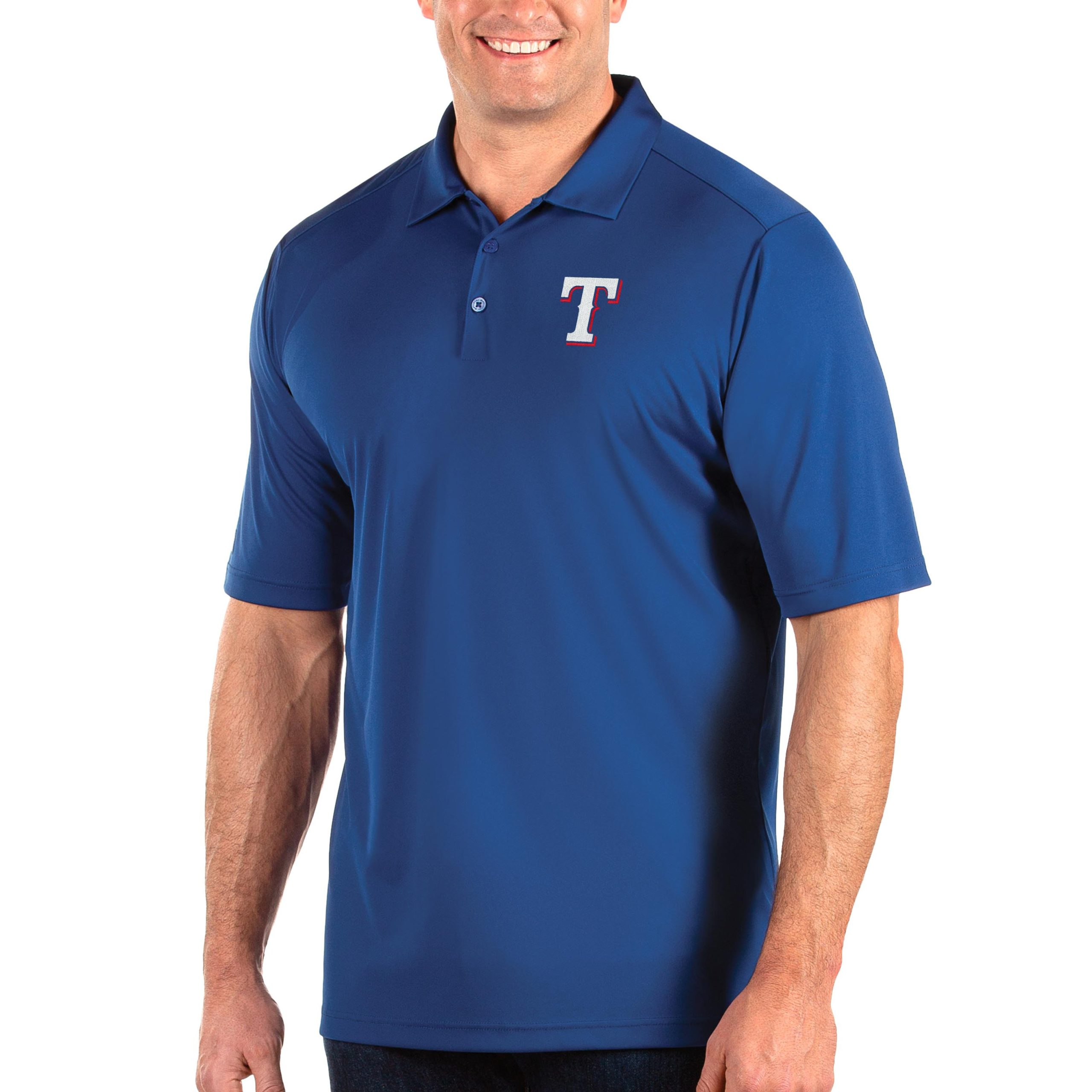 Texas Rangers Antigua Big & Tall Tribute Polo - Royal